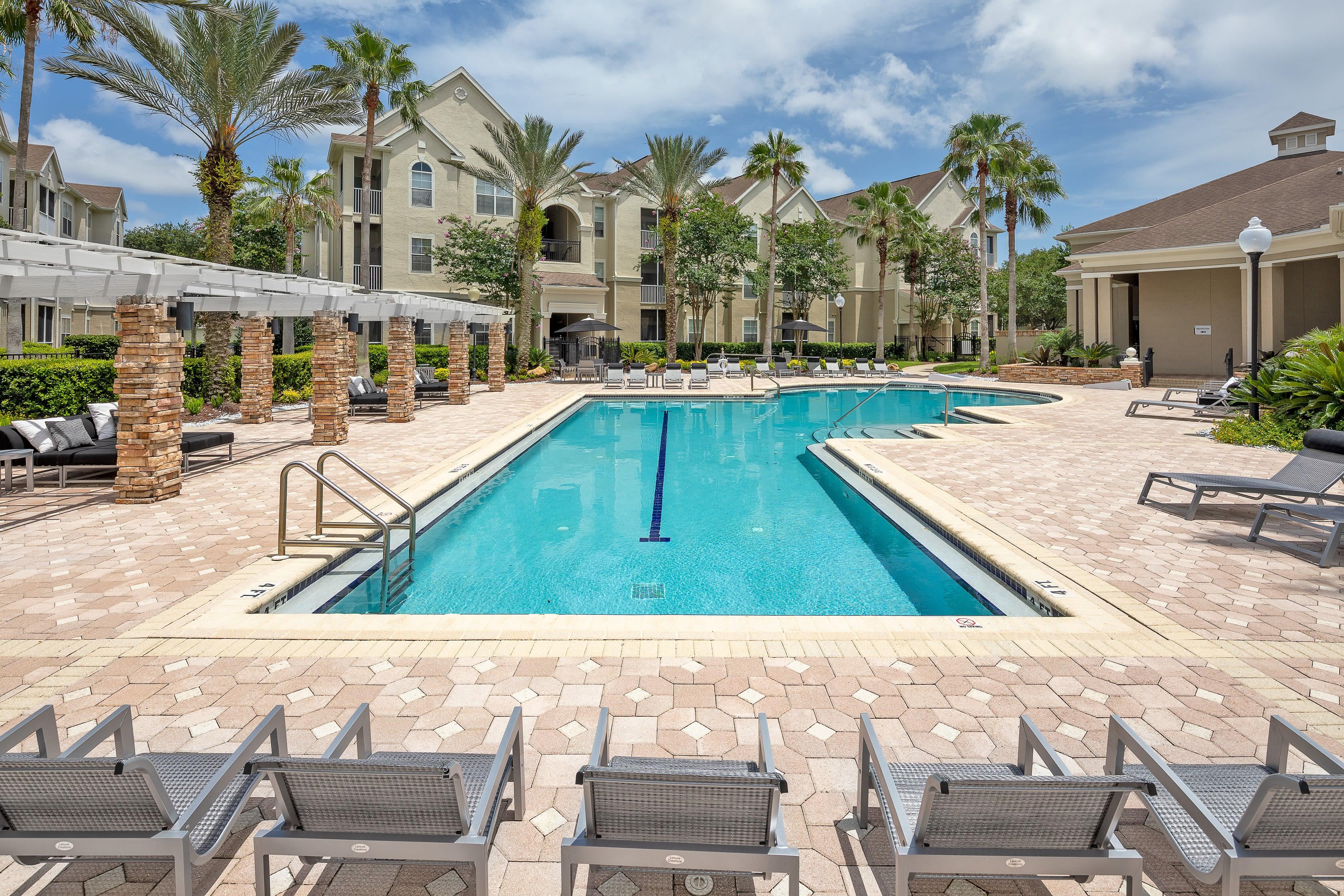 Beautiful pool in Jacksonville, Florida at Eddison at Deerwood Park