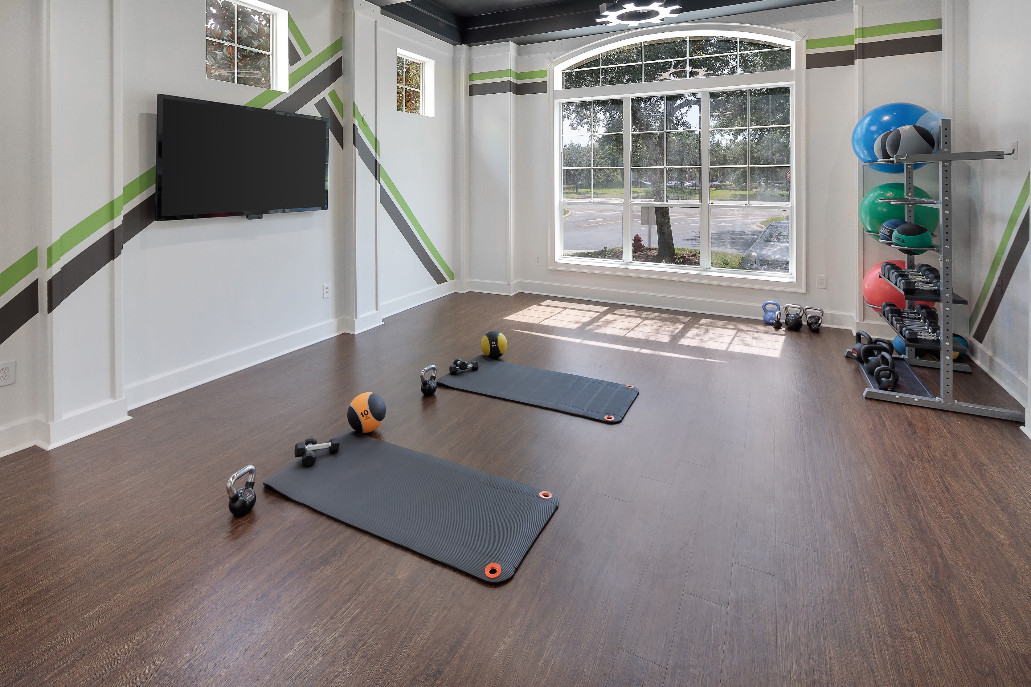Fitness center for residents at Eddison at Deerwood Park in Jacksonville, Florida