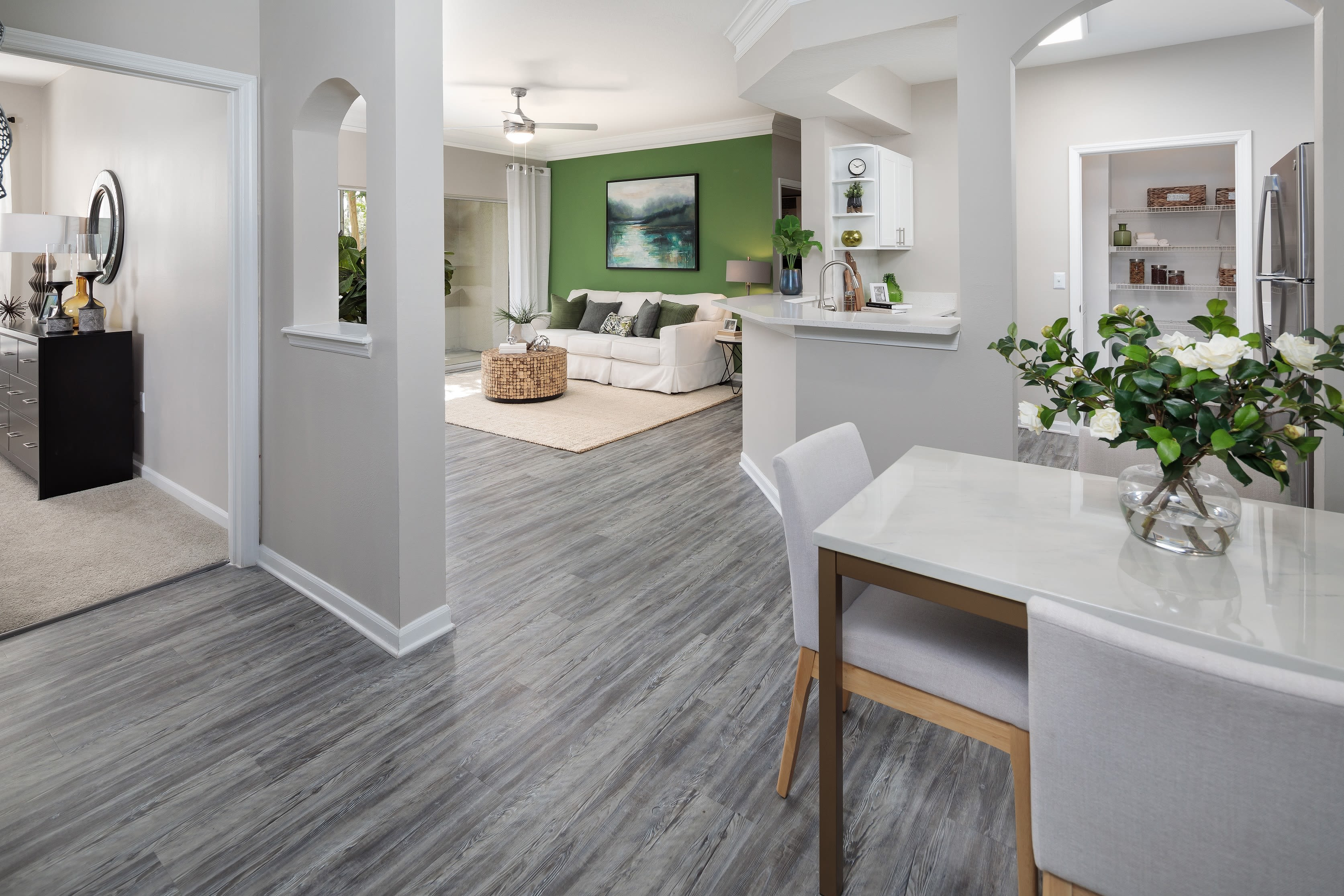 Spacious dining room and kitchen at Eddison at Deerwood Park in Jacksonville, Florida