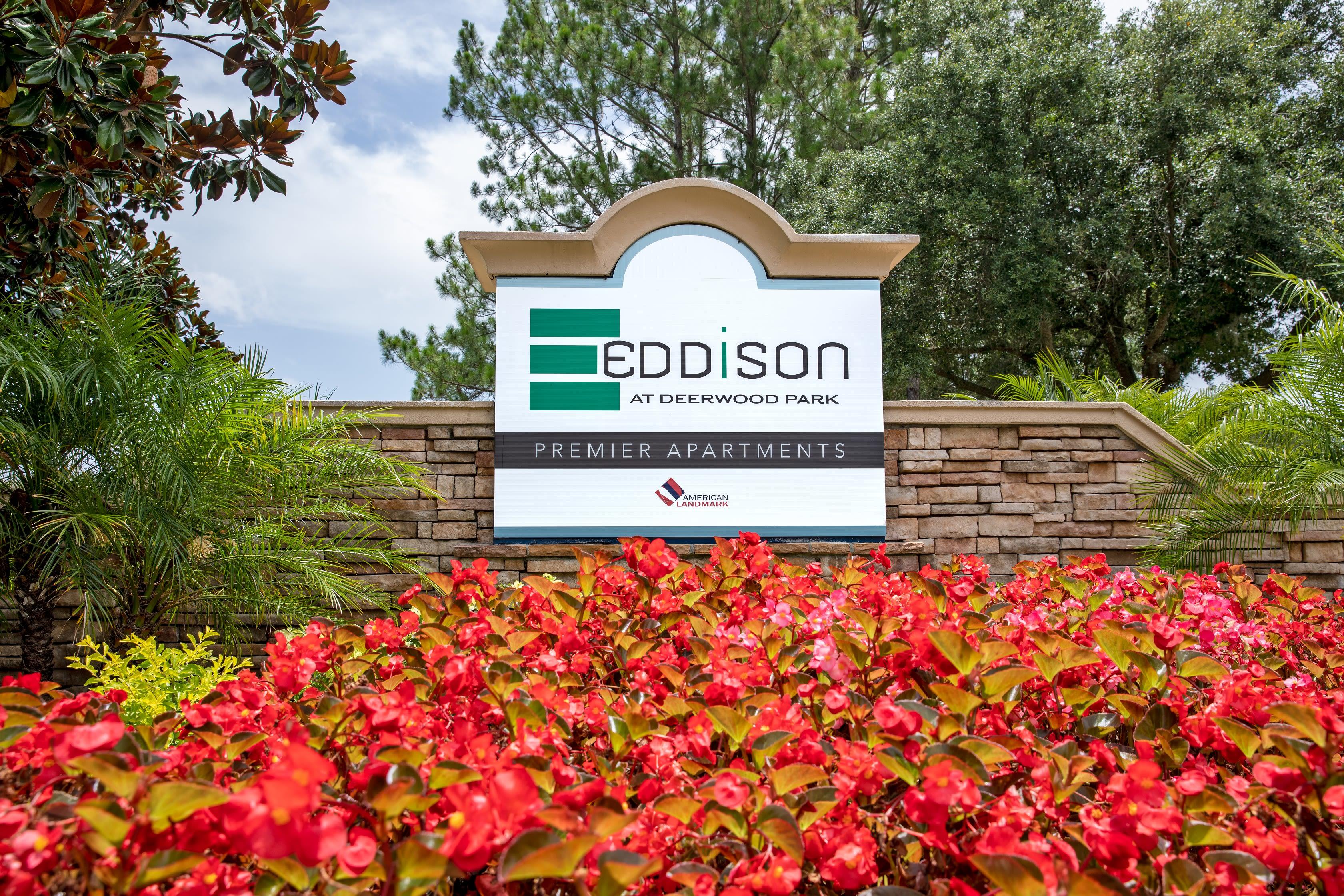 Entrance at Eddison at Deerwood Park in Jacksonville, Florida