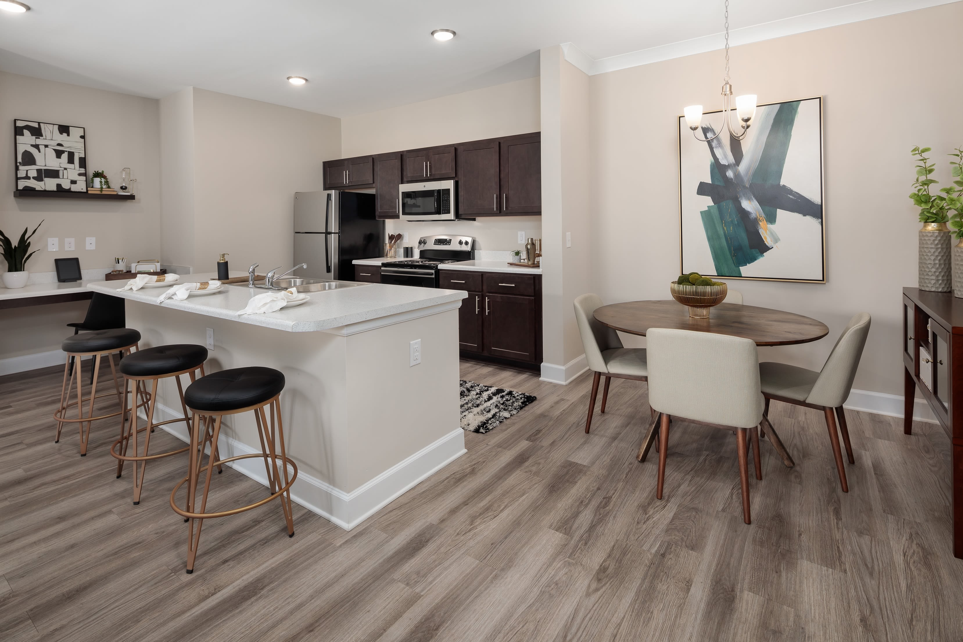 A furnished model unit at The Isaac in Summerville, South Carolina