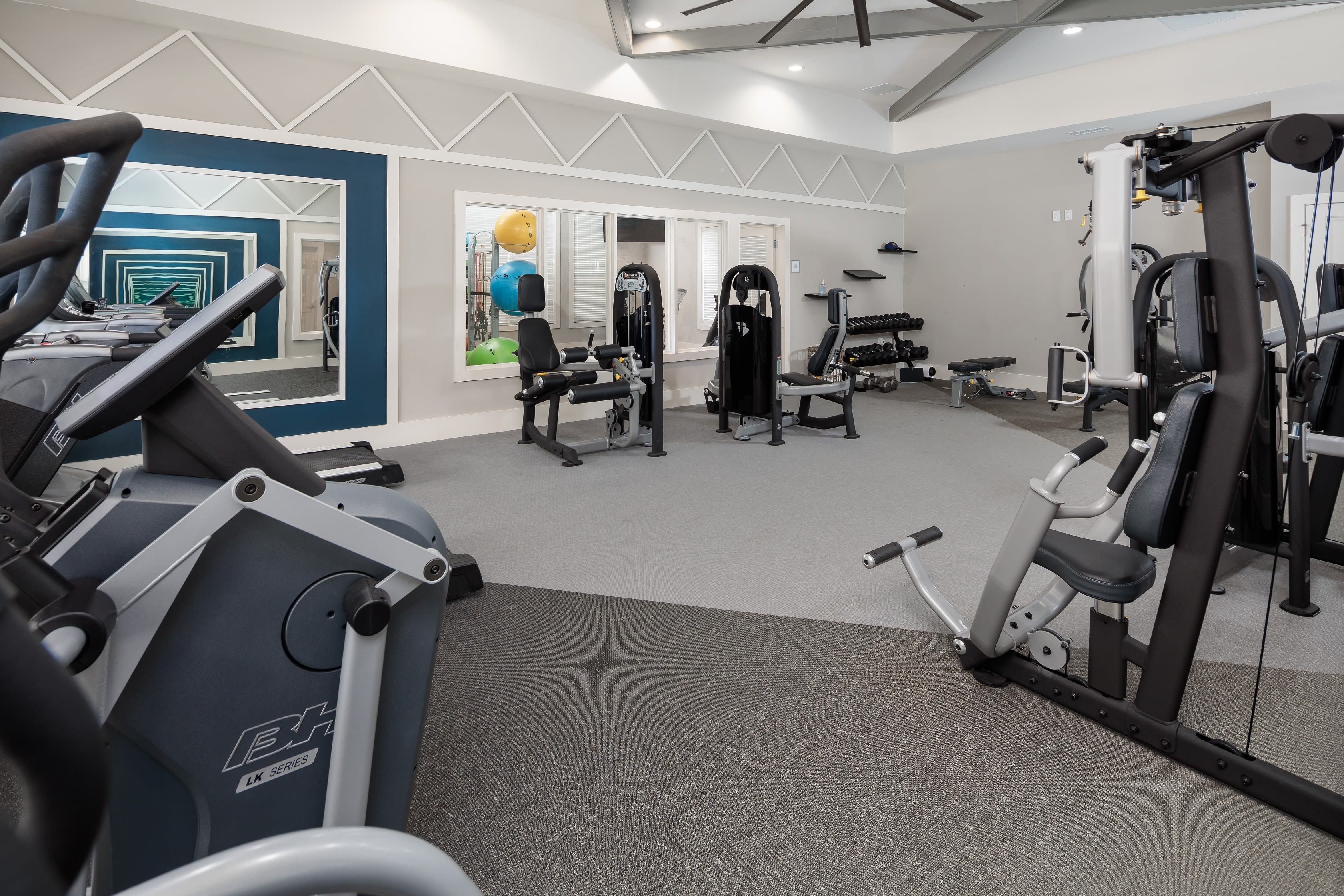Full fitness area for residents at The Isaac in Summerville, South Carolina