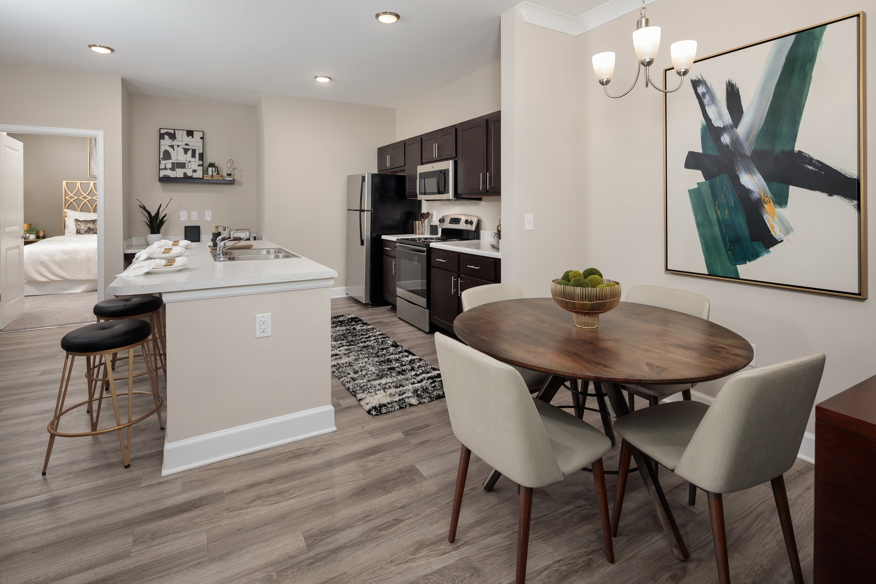 Open concept chefs kitchen with living room at The Isaac in Summerville, South Carolina