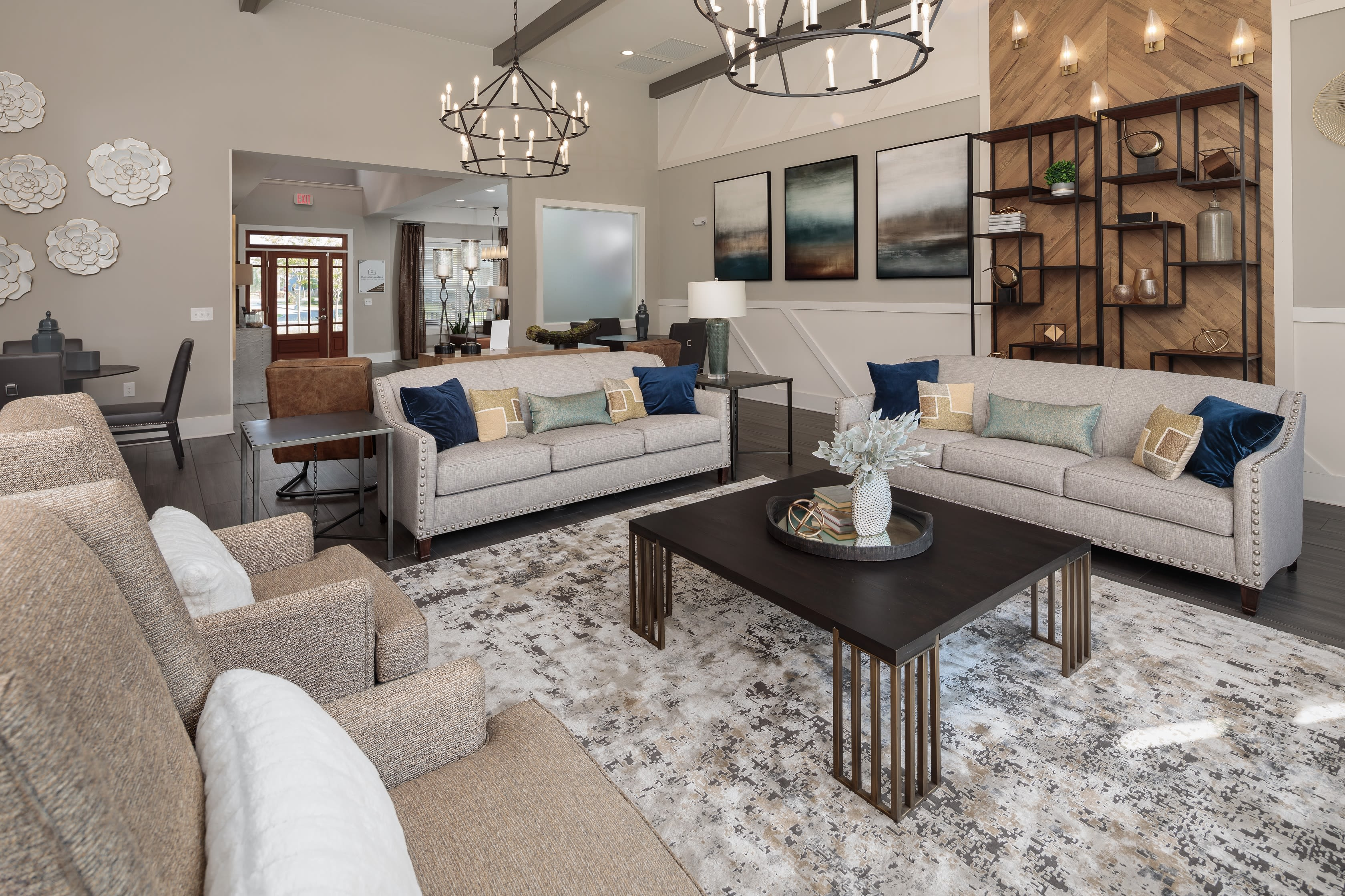 Full living room lounge for residents at The Isaac in Summerville, South Carolina