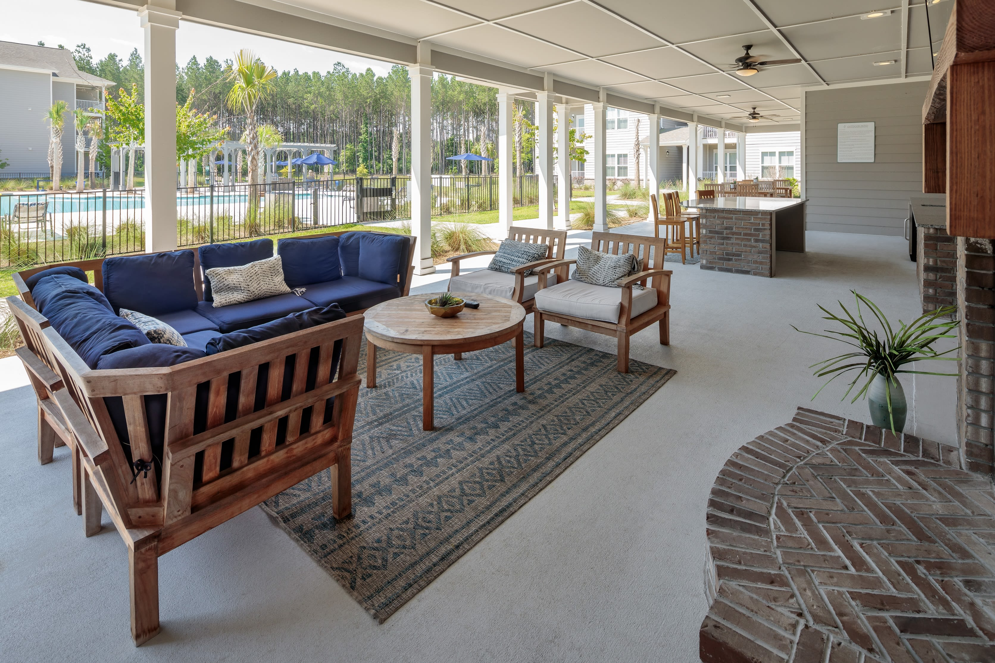 Outdoor living room area at The Isaac in Summerville, South Carolina