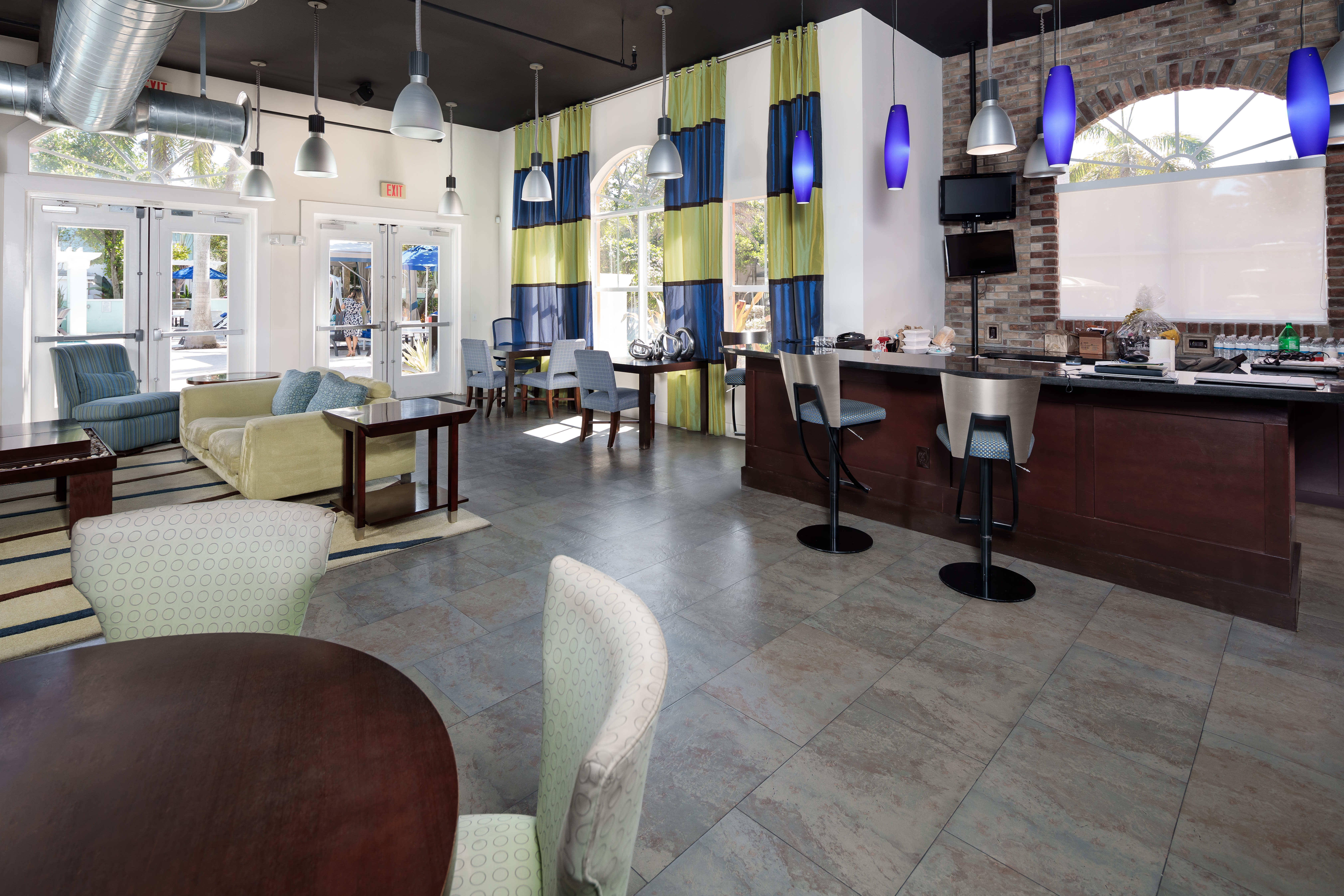 Clubhouse area where residents can relax and hang out in at The Pearl in Ft Lauderdale, Florida