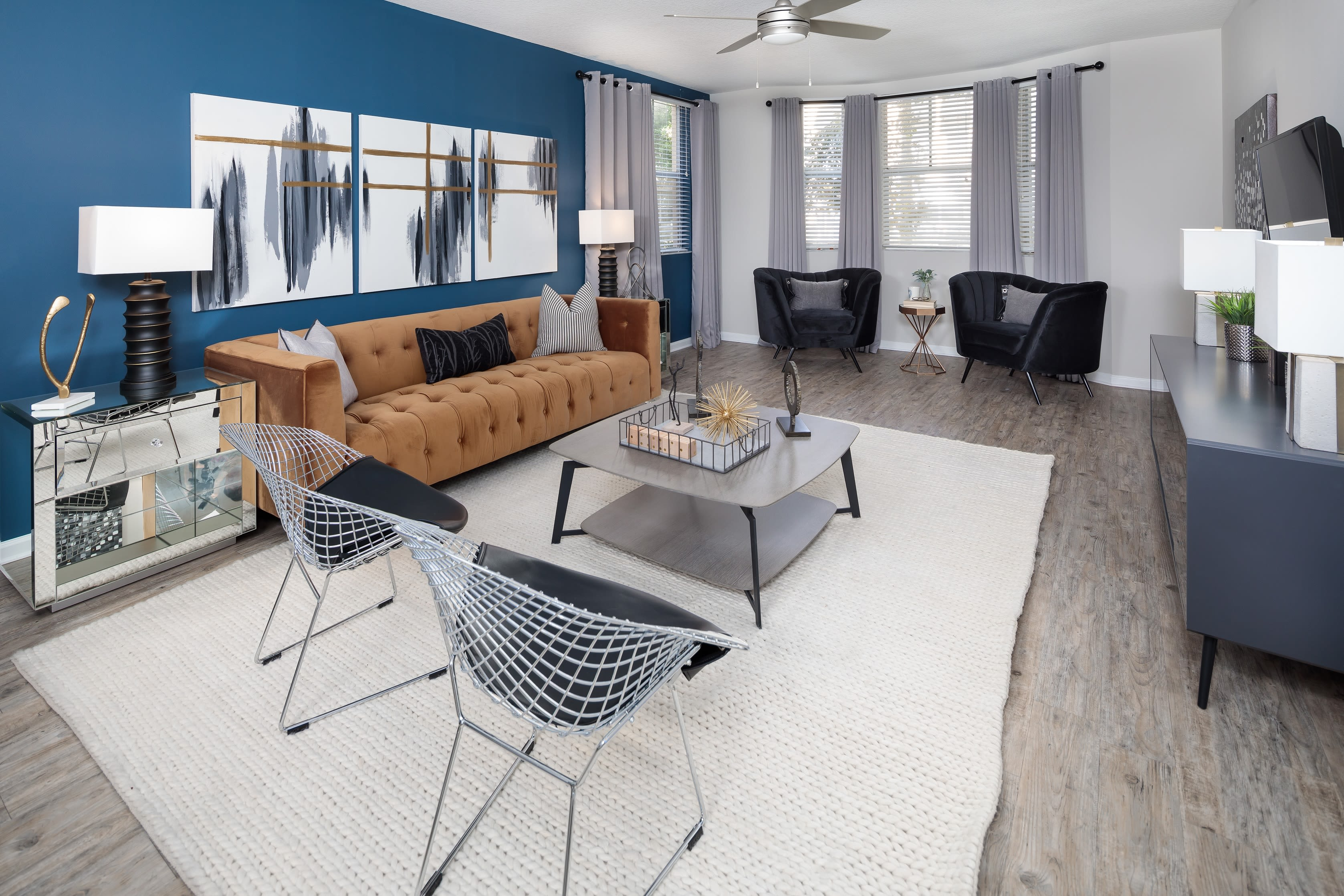 Well-decorated open-concept living space in a model home at The Pearl in Ft Lauderdale, Florida