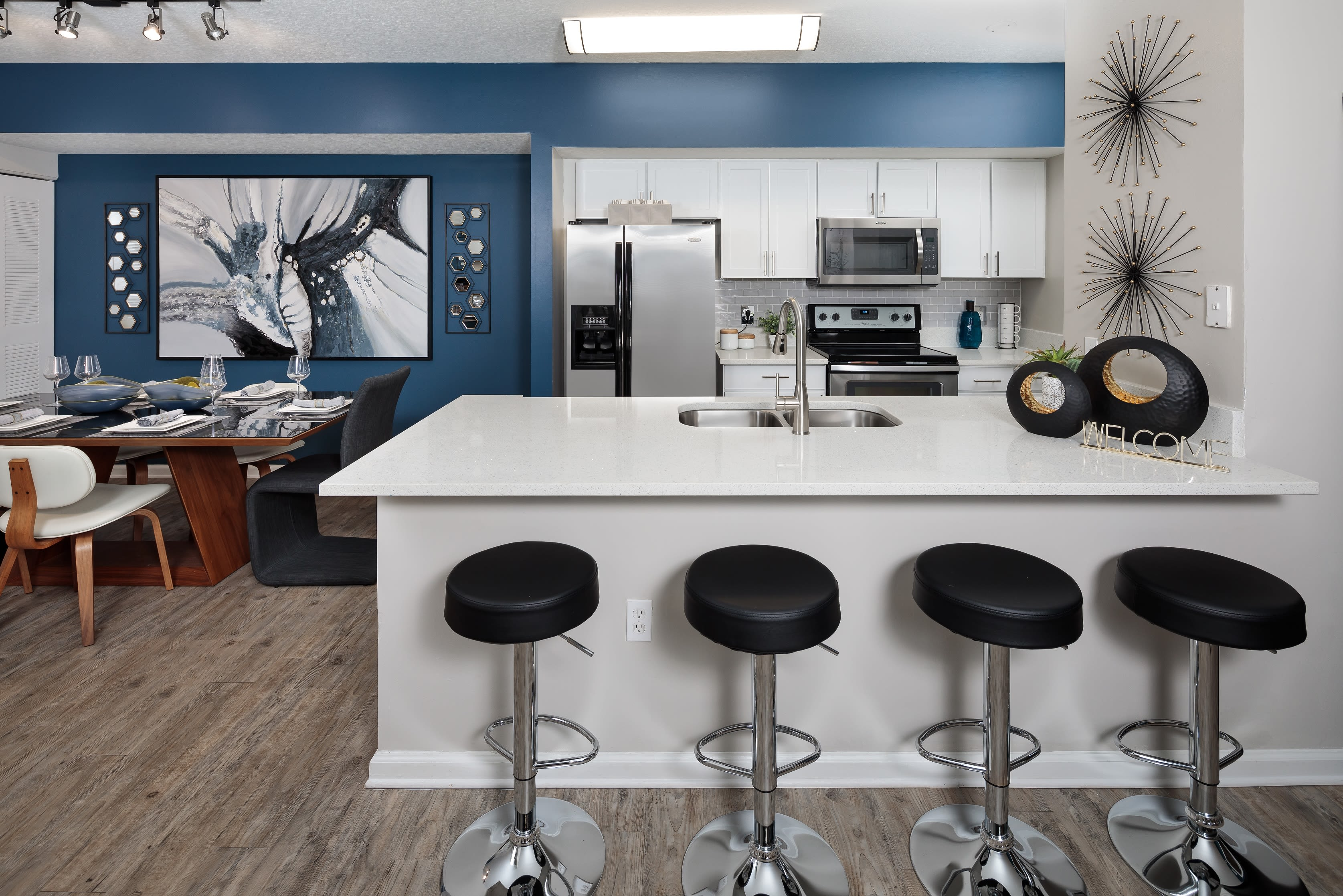 Breakfast bar area with tons of counter space for cooking at The Pearl in Ft Lauderdale, Florida