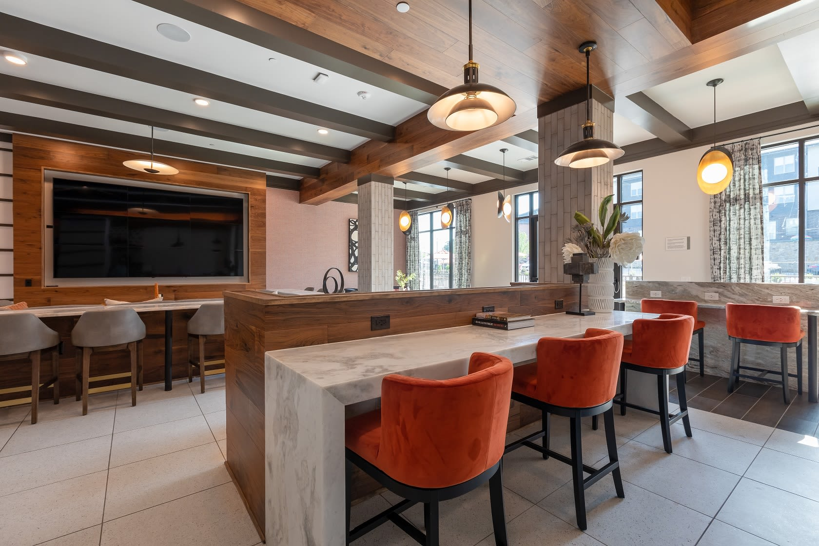 Clubhouse for residents to mingle and work in The ReVe in Garland, Texas