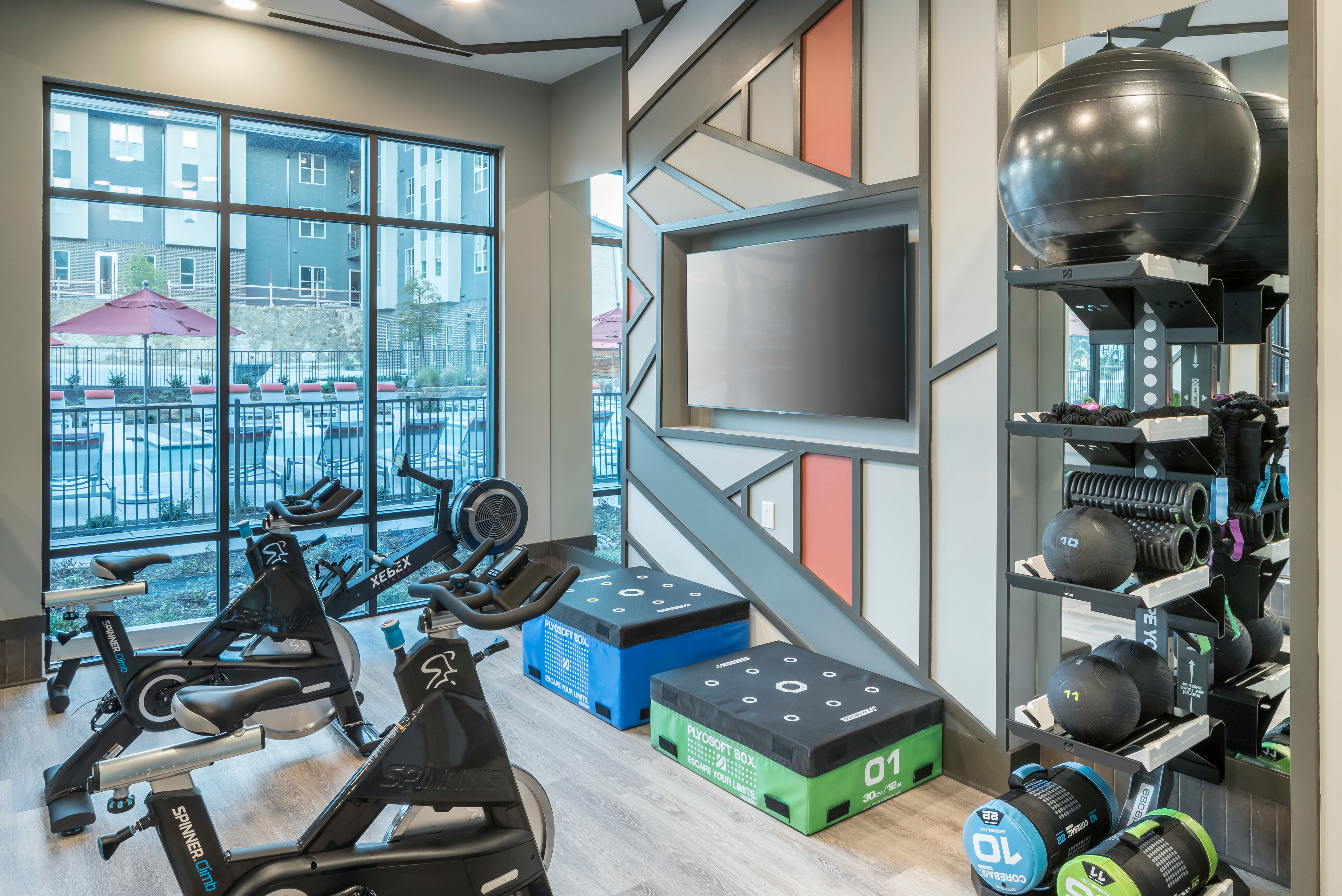 Full state of the art fitness area for residents at The ReVe in Garland, Texas