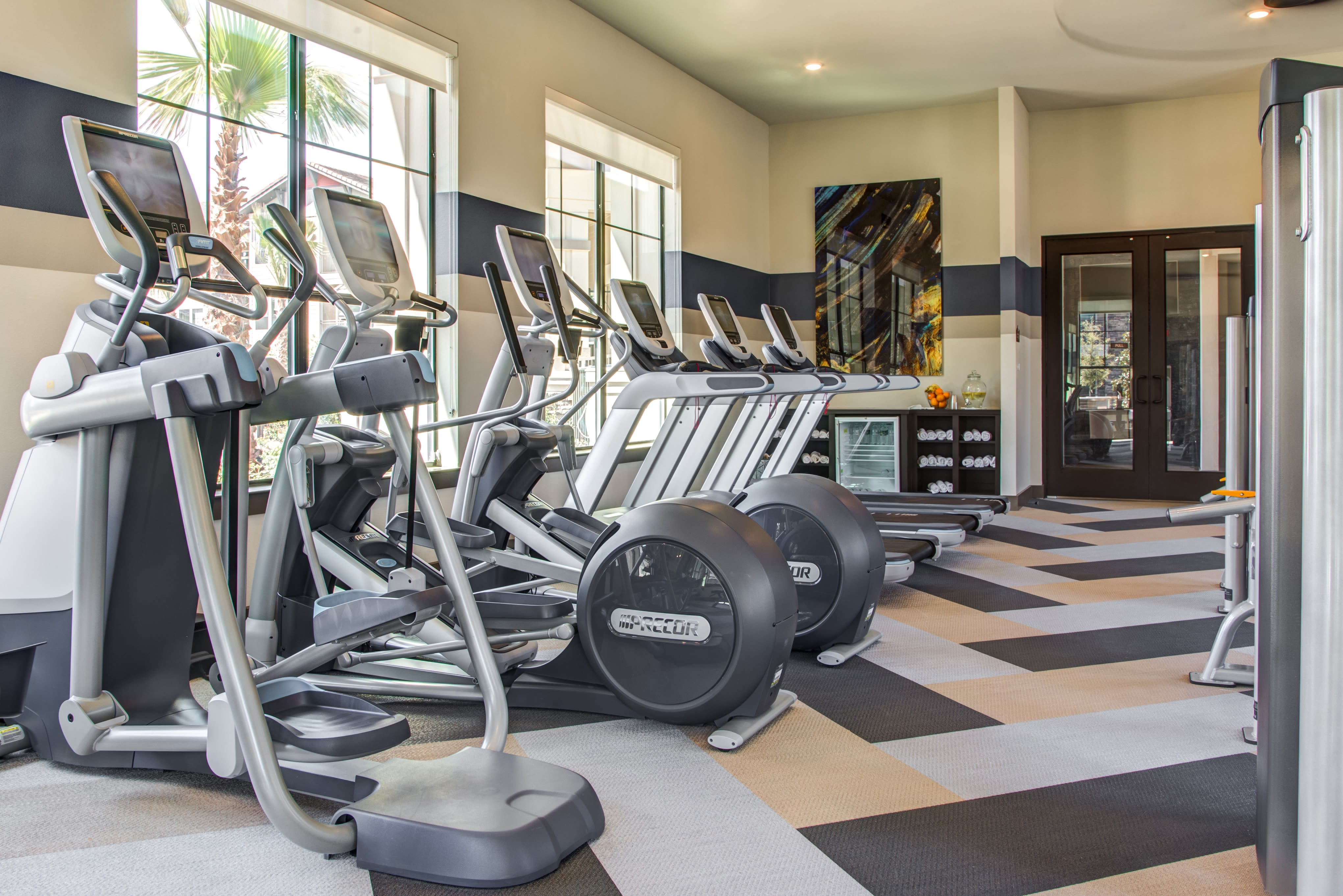 Well-equipped fitness center with terrific view of the community at Waterford Trails in Spring, Texas