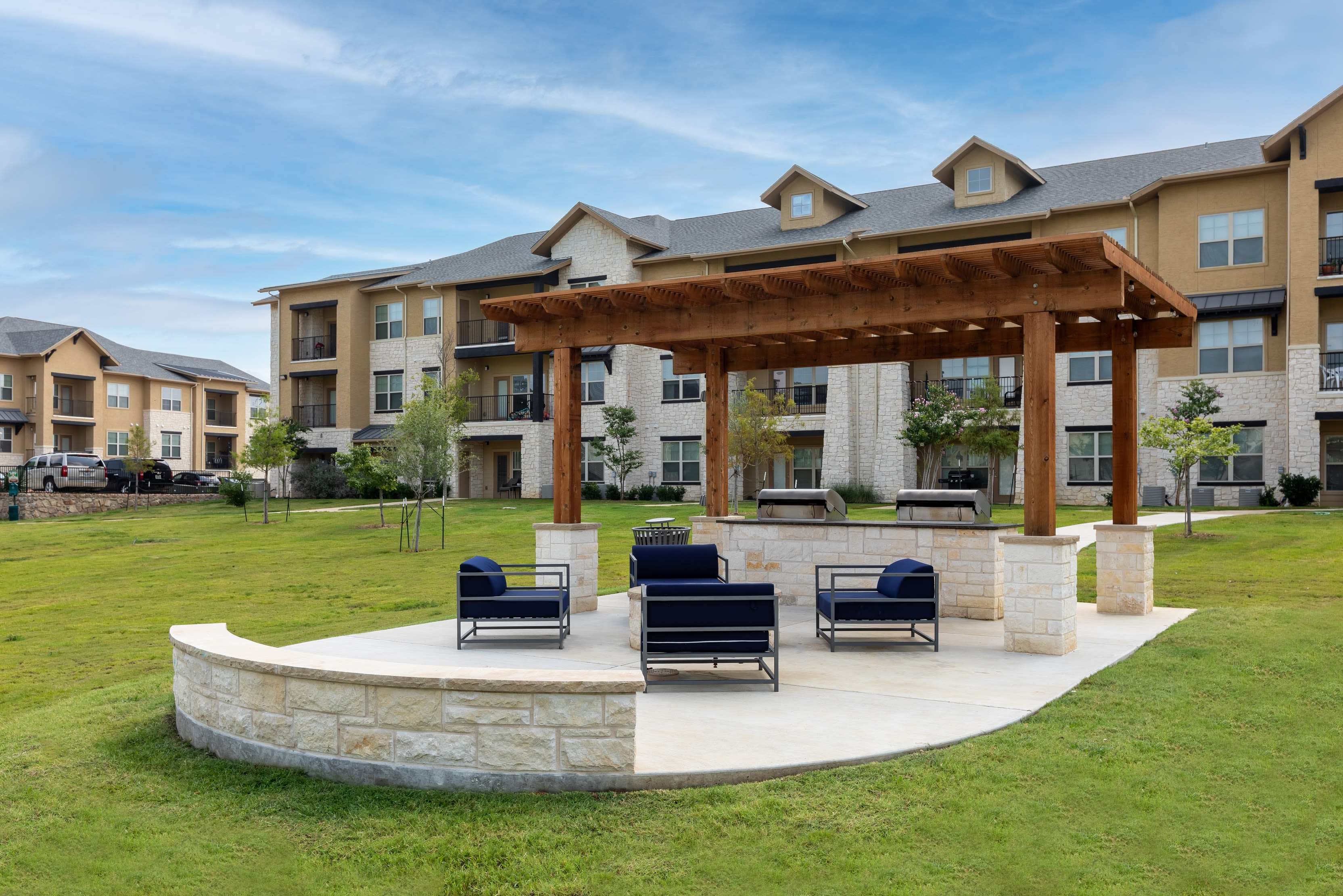 Outdoor resident space at 4 Corners Apartments in Frisco, Texas