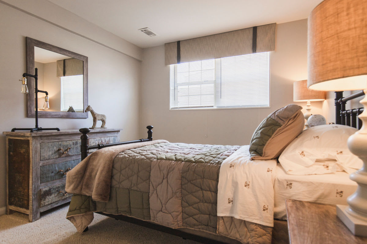 Bedroom in model home at Westgate Apartments & Townhomes in Manassas, Virginia