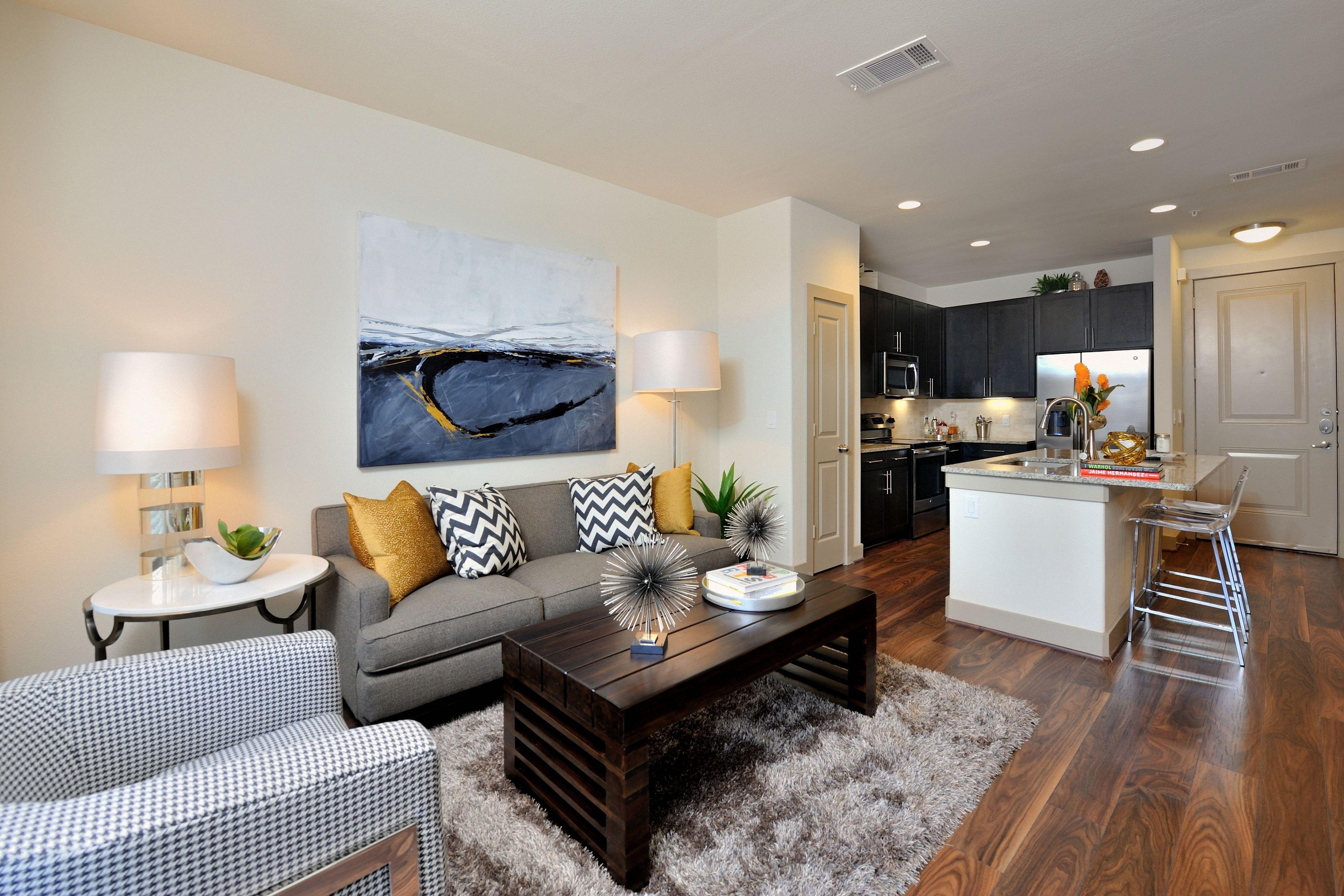 Model living room at Olympus Falcon Landing in Katy, TX