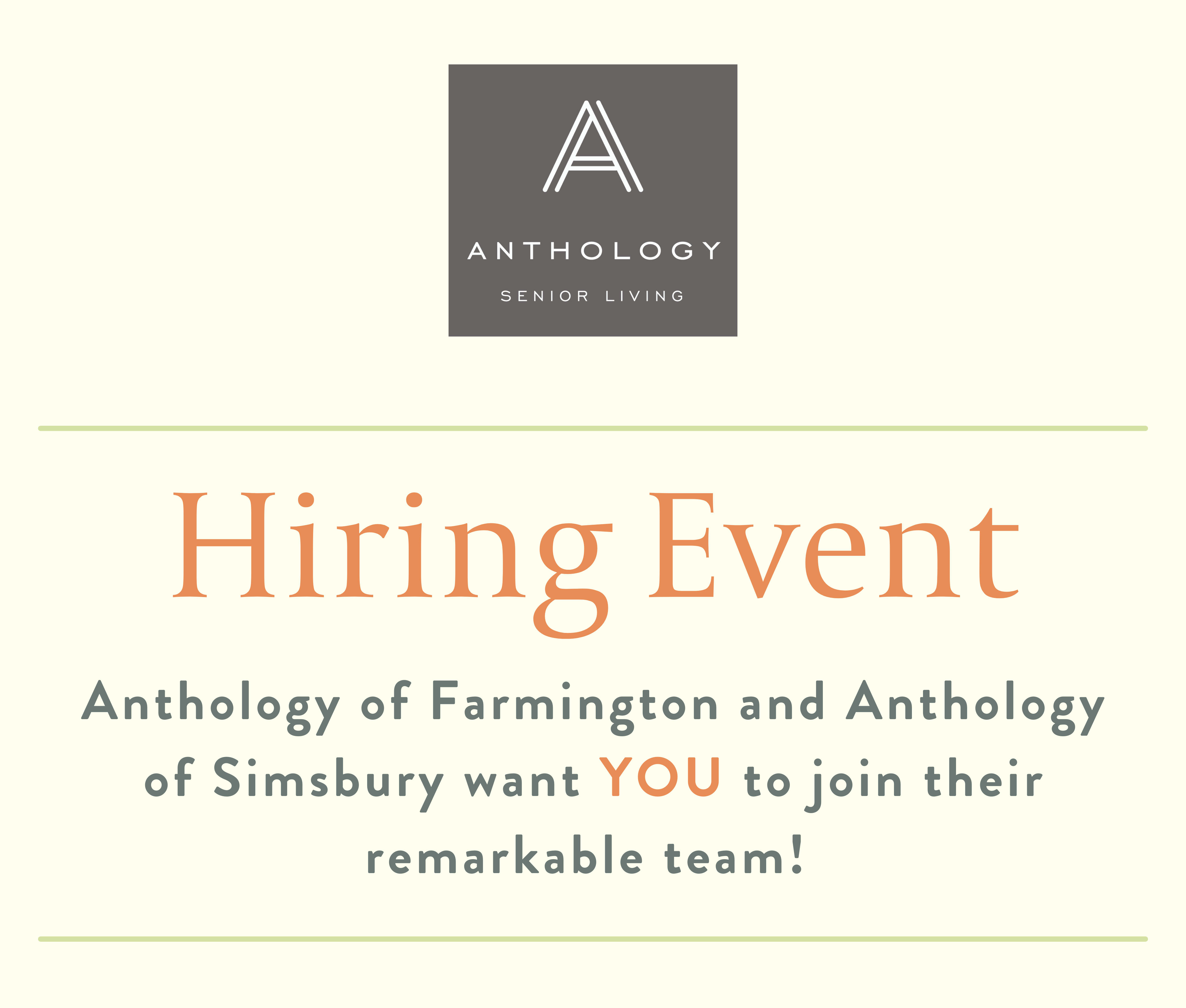 Join us for an event at Anthology of Simsbury in Simsbury, Connecticut