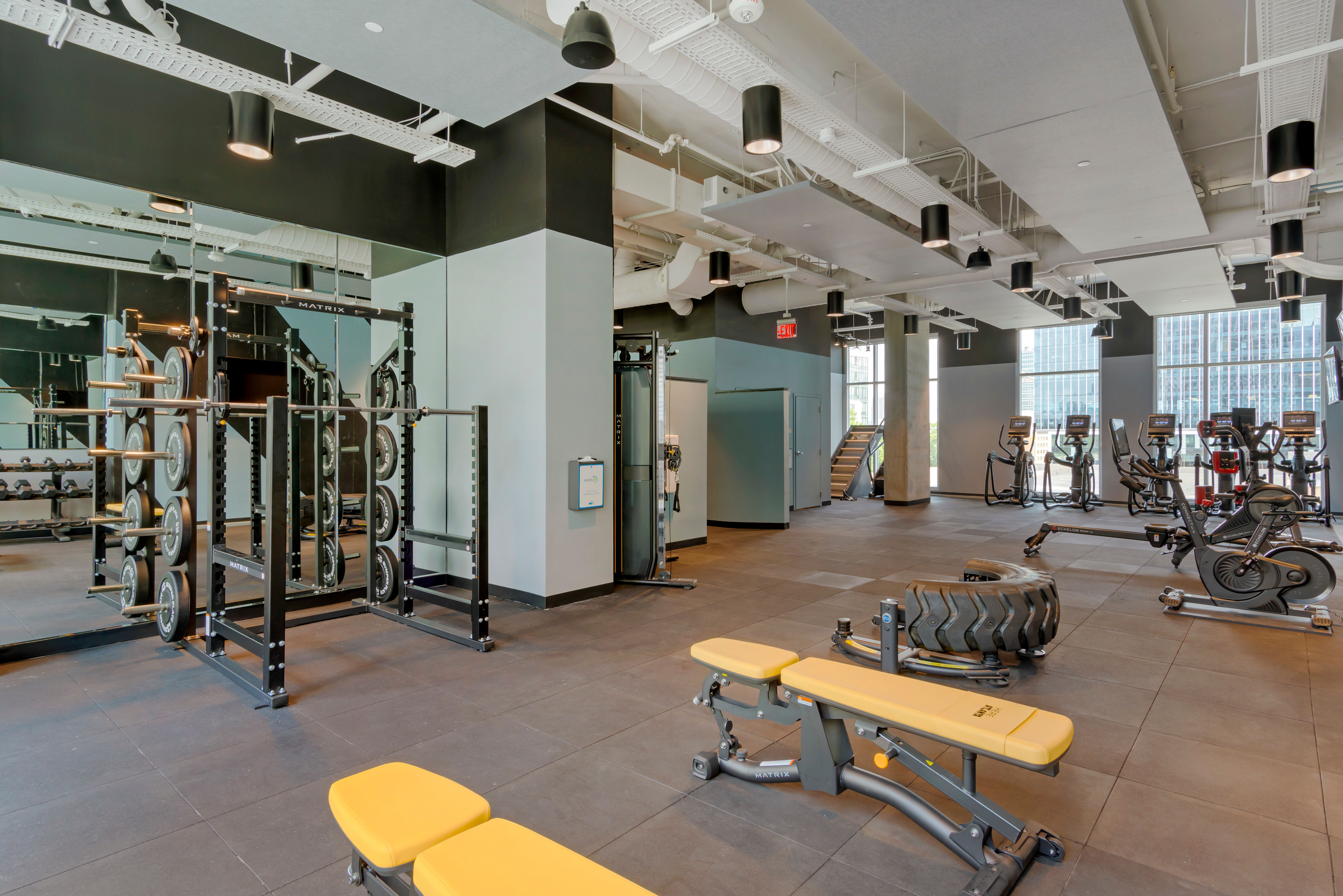 State of the art fitness center for student residents at HERE Atlanta in Atlanta, Georgia
