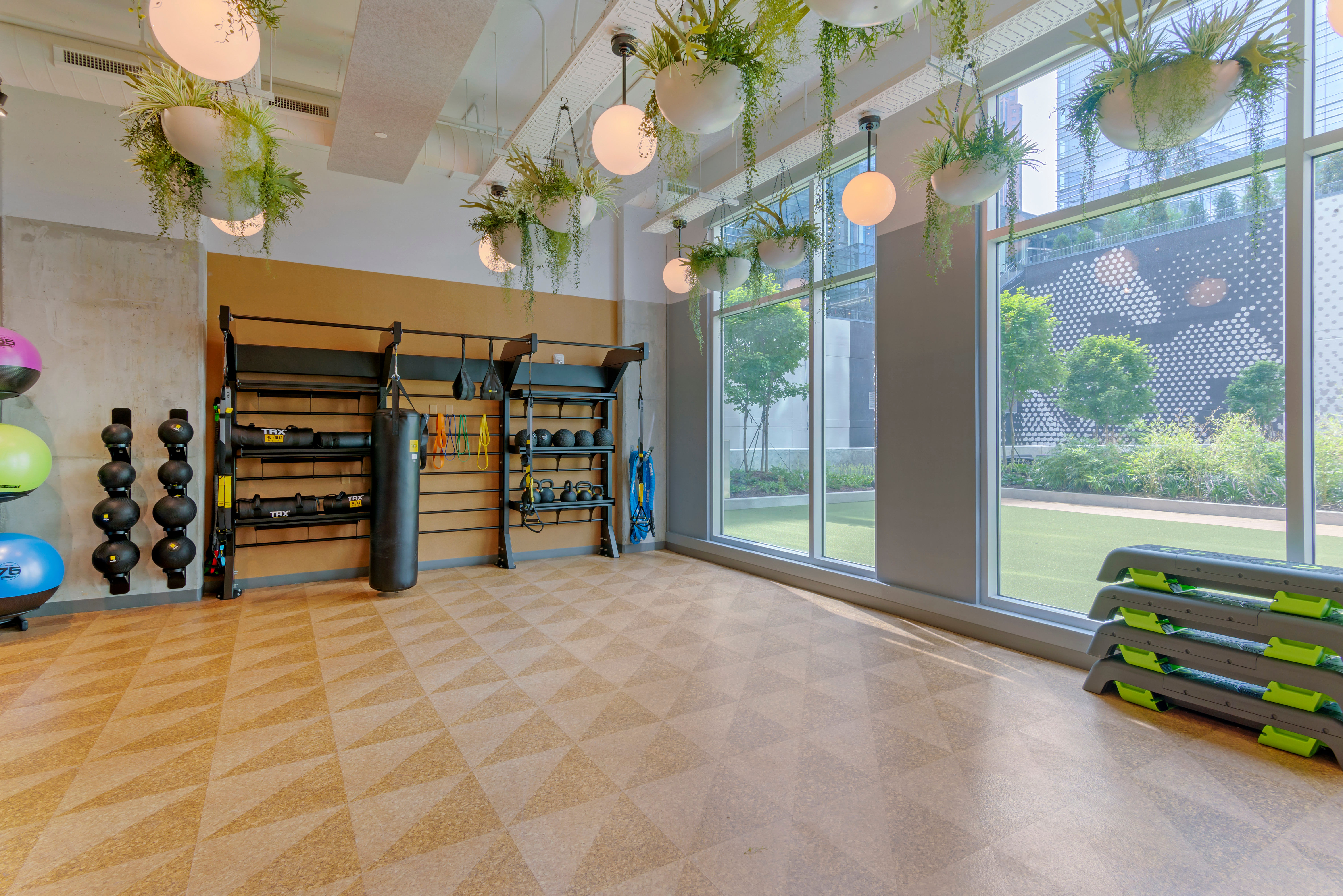 Yoga and weight area for student residents at HERE Atlanta in Atlanta, Georgia