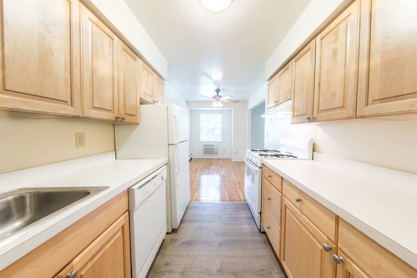 Fully equipped model kitchen at The Manors in Pomona, New York