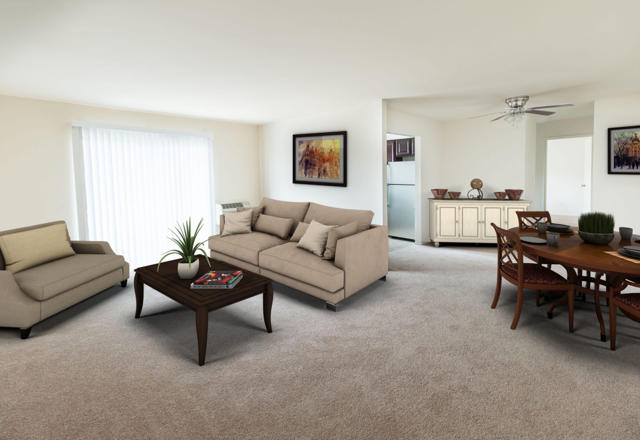 Model living room at Brakeley Gardens in Phillipsburg, New Jersey