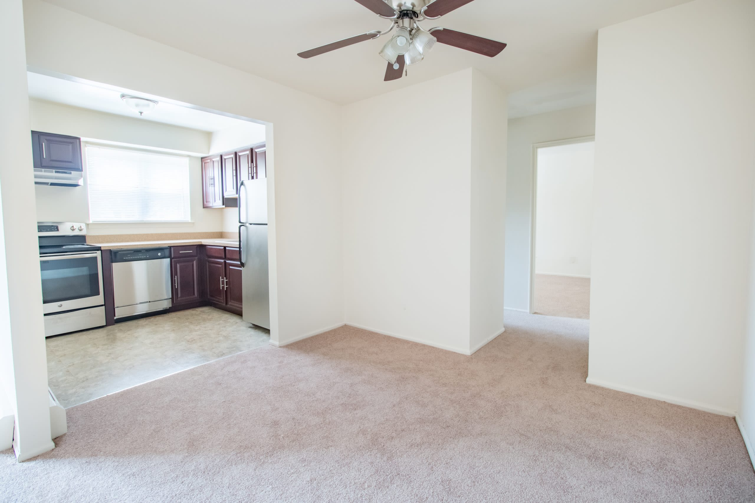 Spacious floor plans with ceiling fan at Brakeley Gardens in Phillipsburg, New Jersey