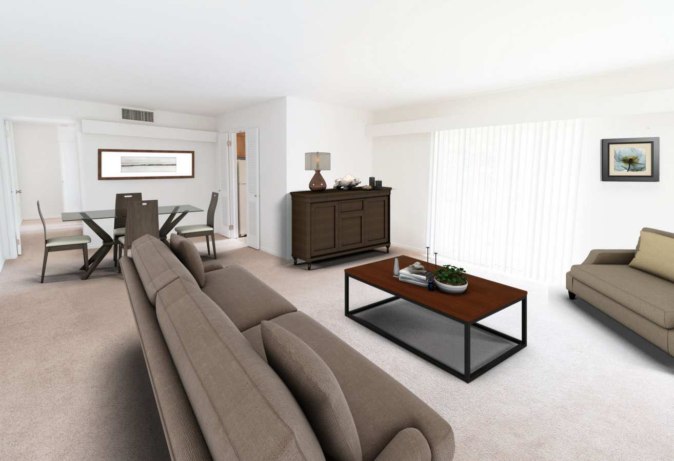 Model living room at Corliss Apartments in Phillipsburg, New Jersey