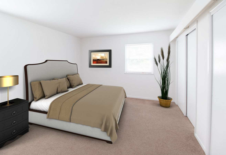 Model bedroom at Corliss Apartments in Phillipsburg, New Jersey