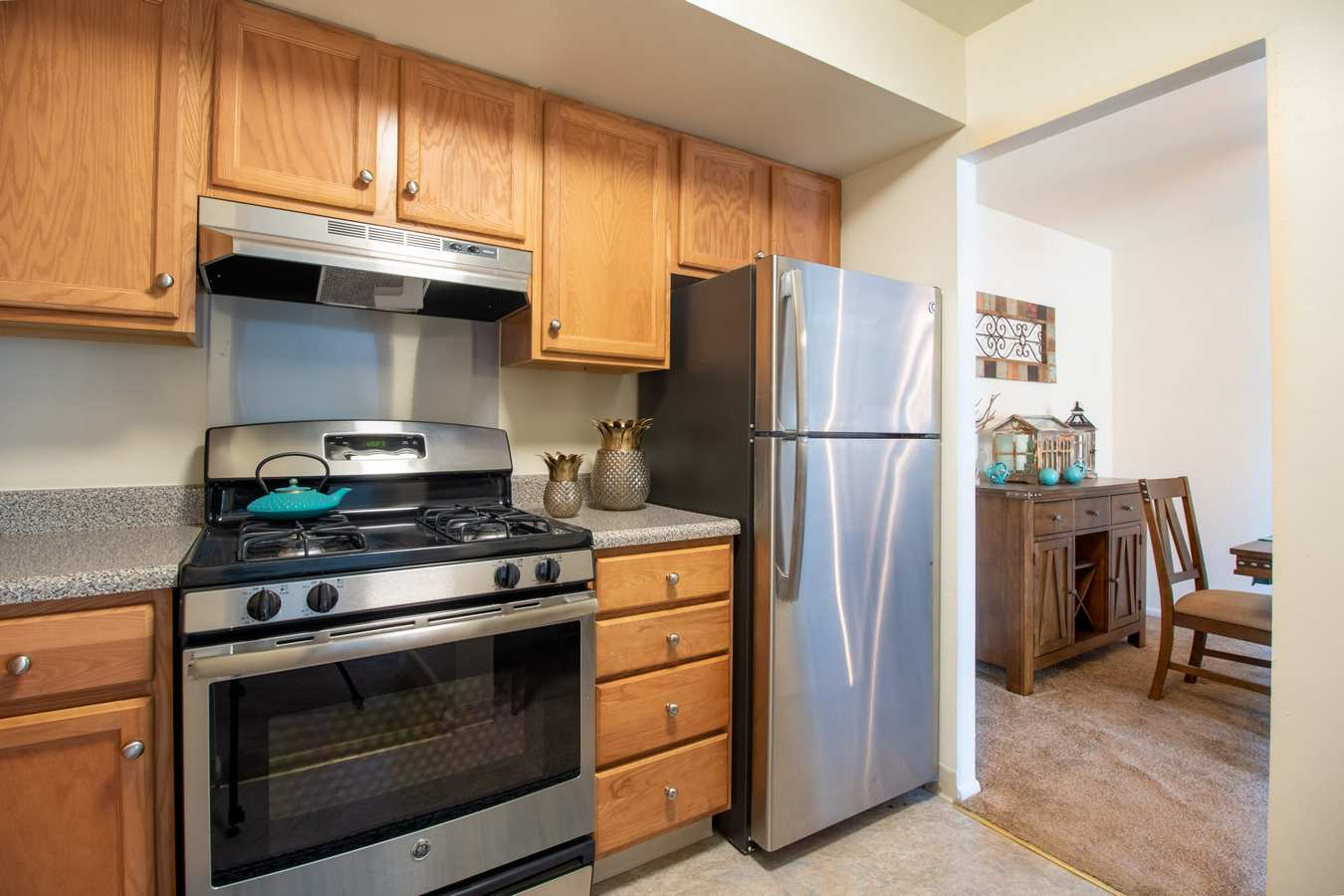 Model kitchen at Mill Village in Millville, New Jersey