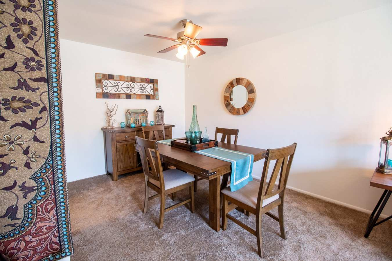 Model dining area at Mill Village in Millville, New Jersey