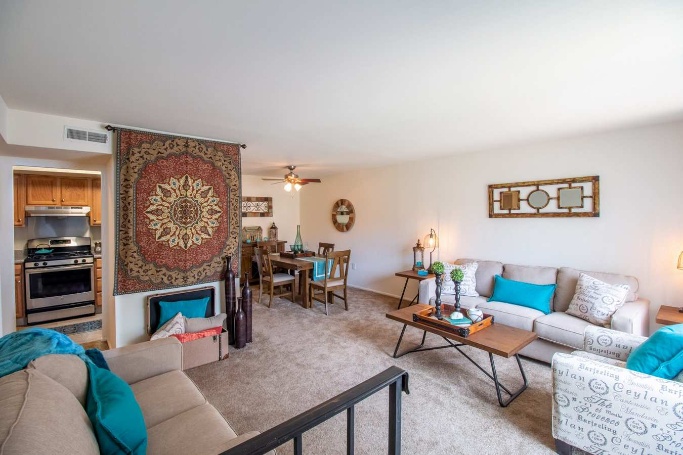 Model living room at Mill Village in Millville, New Jersey