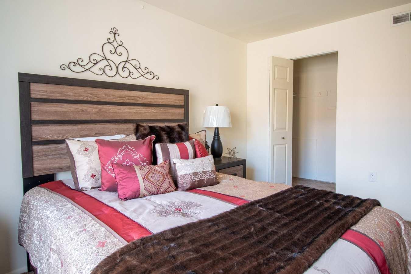 Model bedroom at Mill Village in Millville, New Jersey