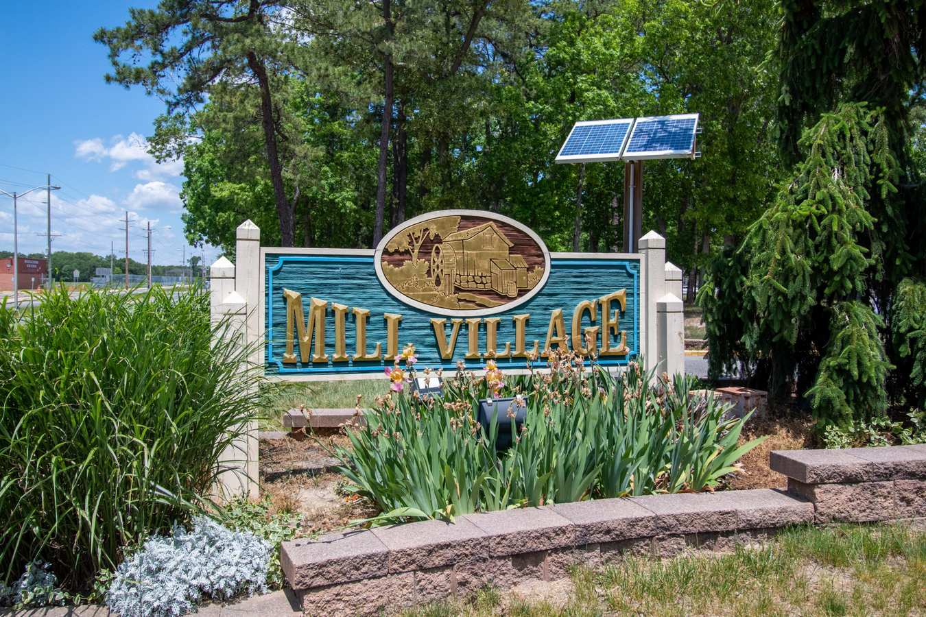 Sign at the entrance to Mill Village in Millville, New Jersey