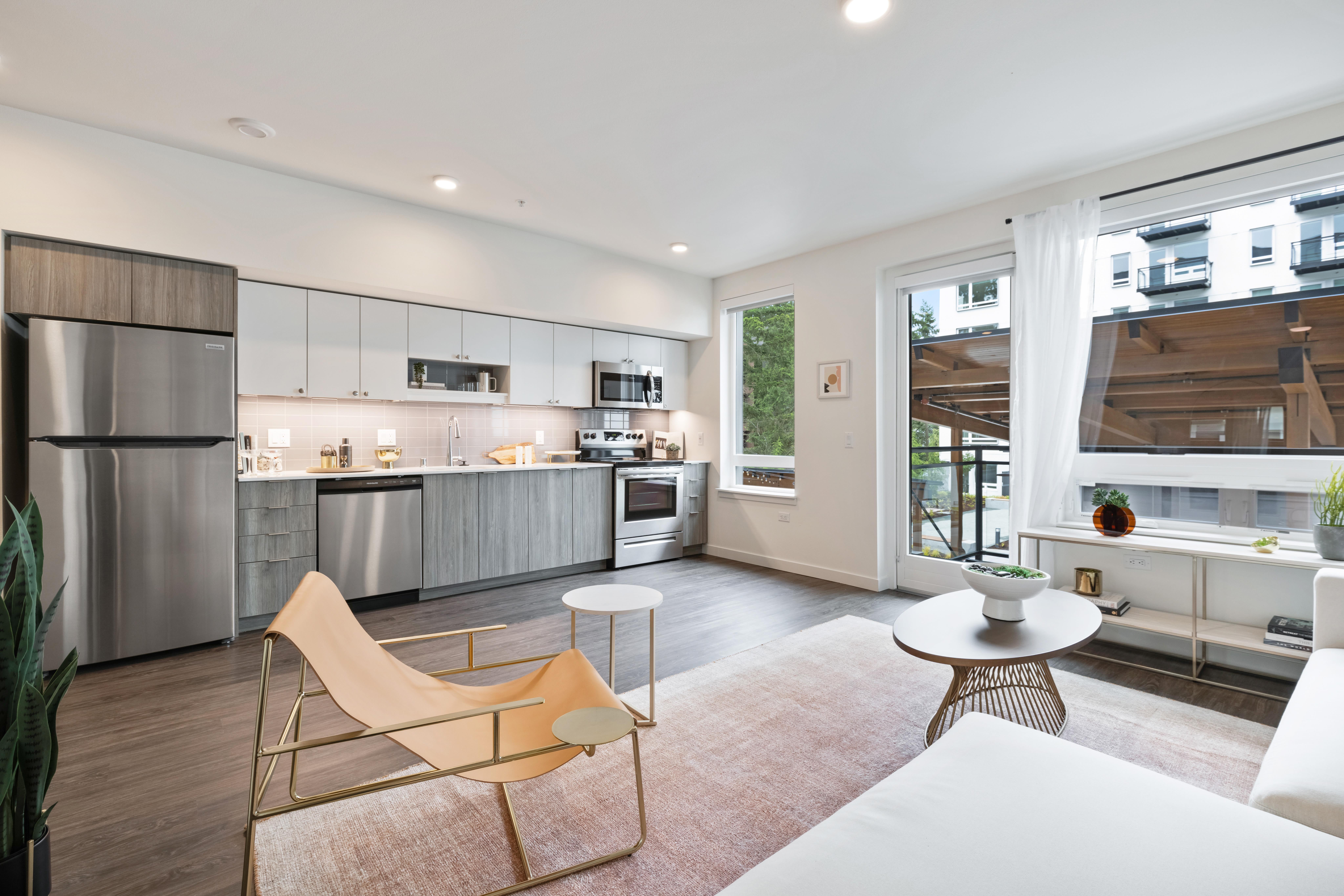 Spacious living room area at Nightingale in Redmond, Washington