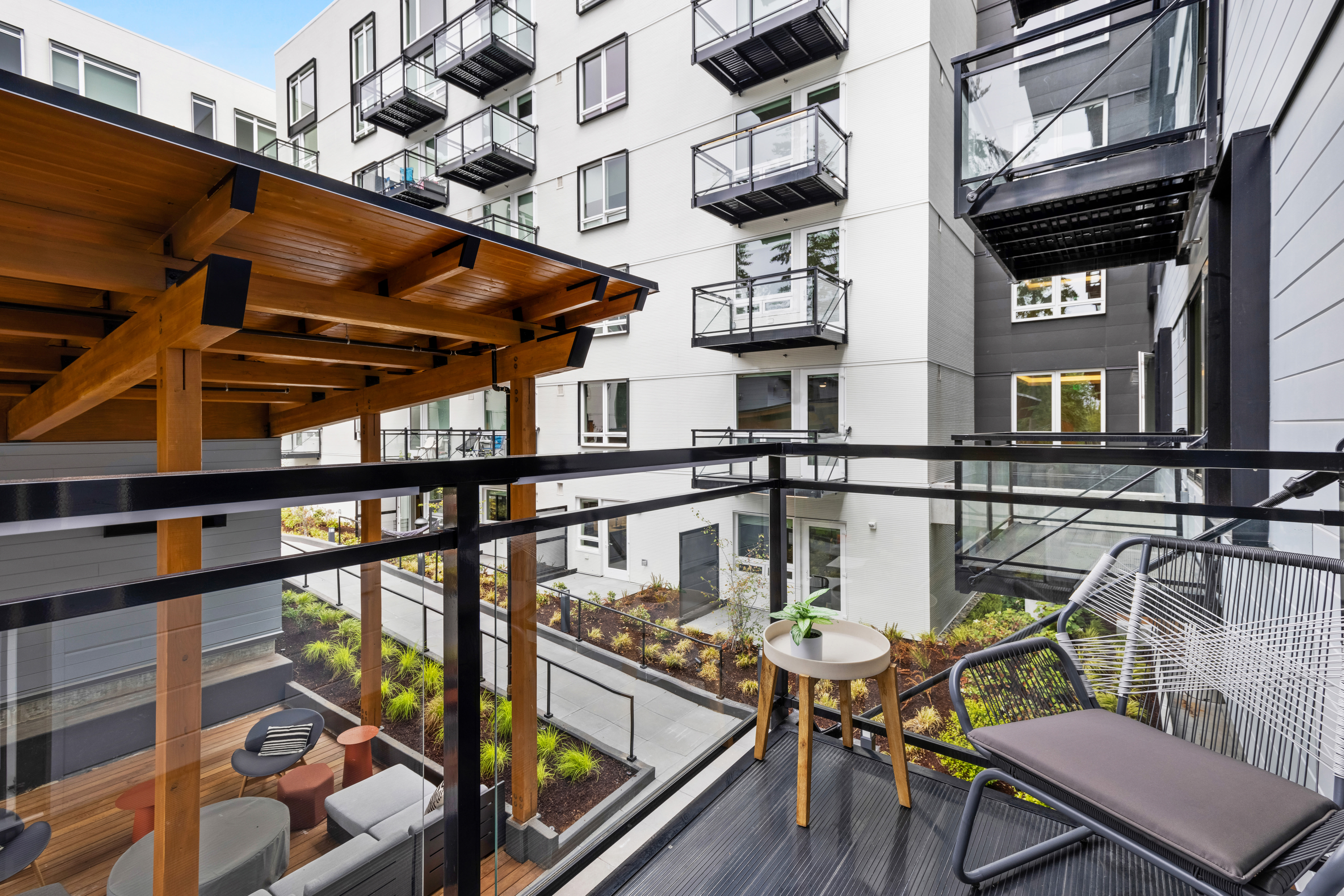 Private balcony at Nightingale in Redmond, Washington