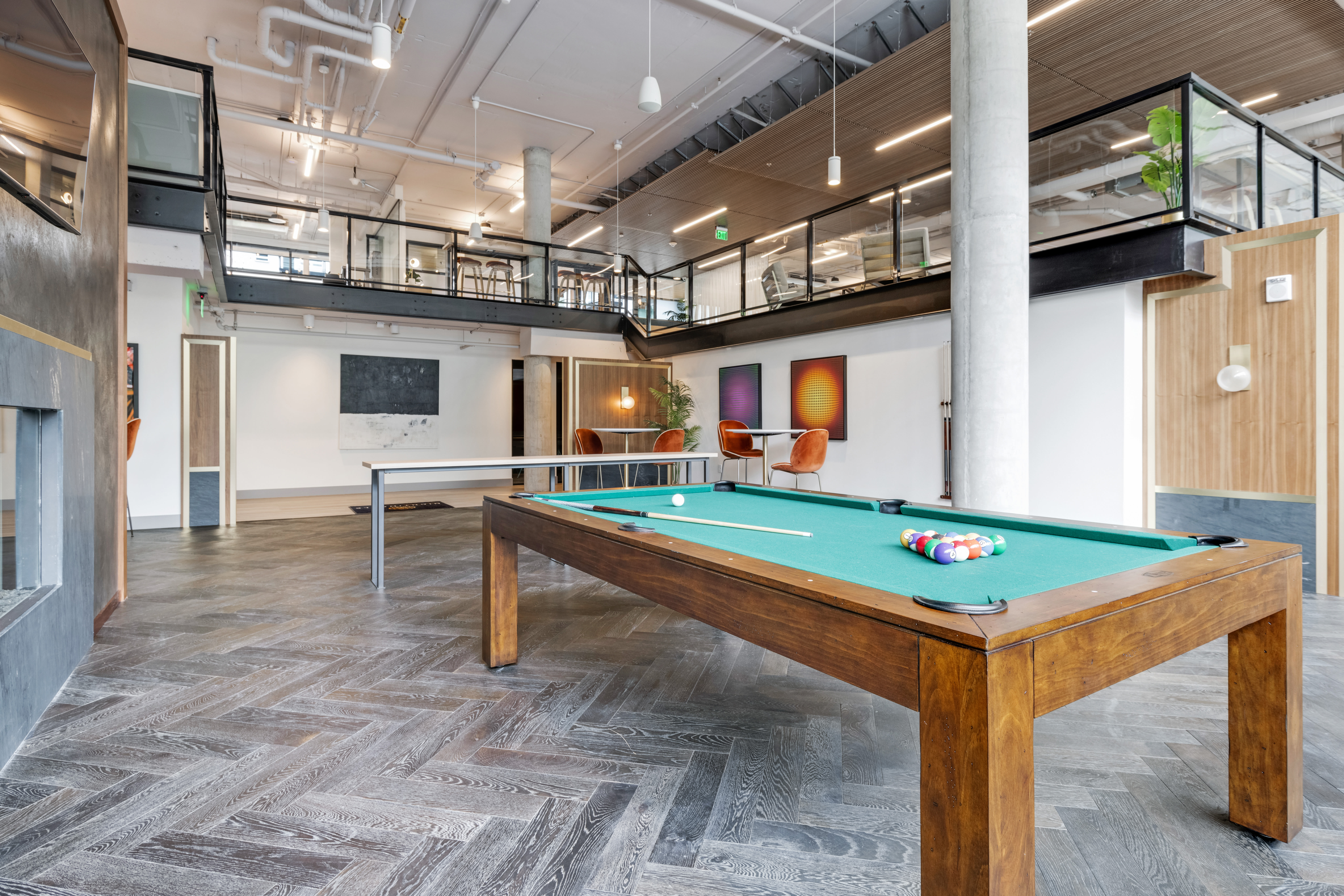 Game room with billiards table at Nightingale in Redmond, Washington