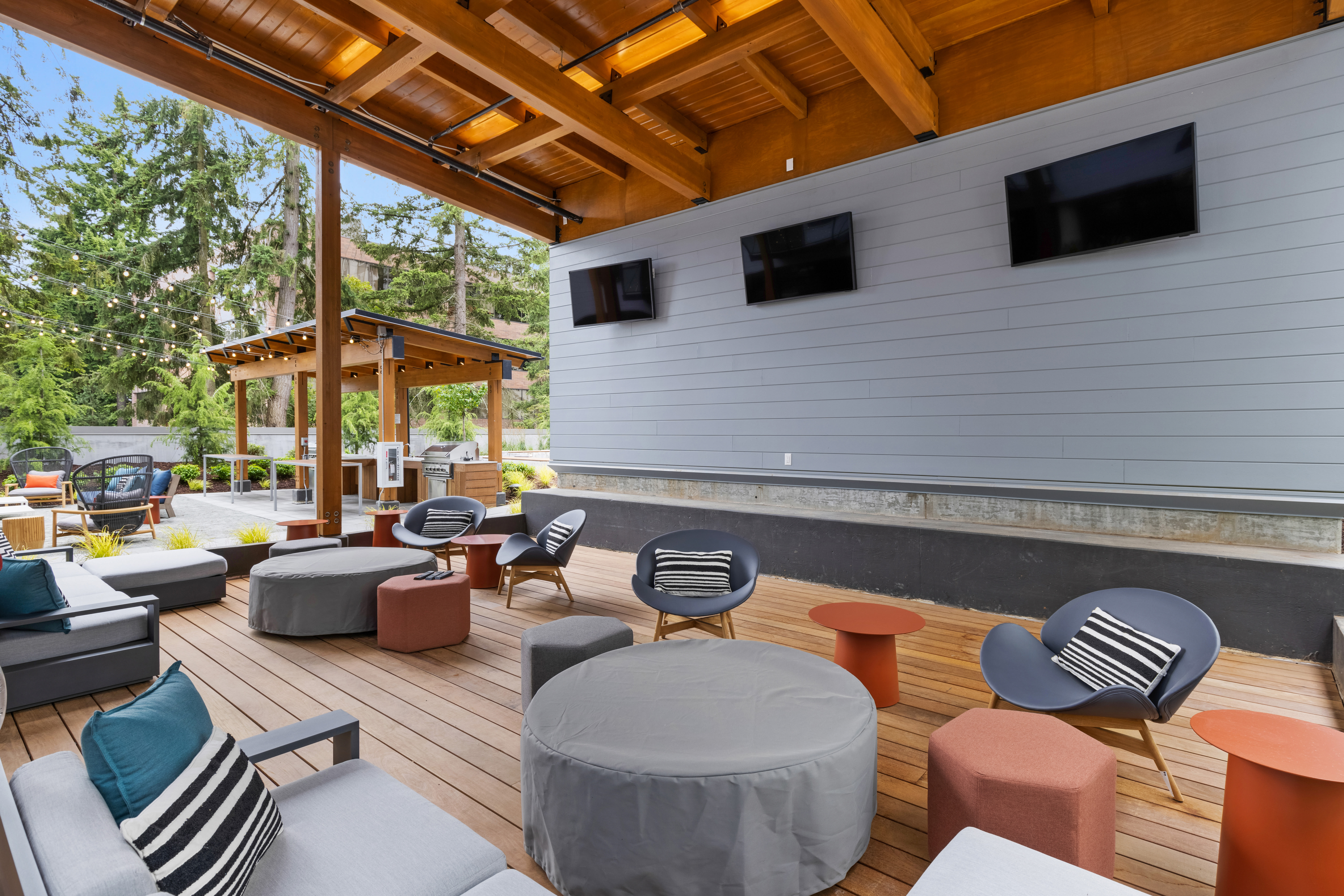 Outdoor lounge for residents at Nightingale in Redmond, Washington
