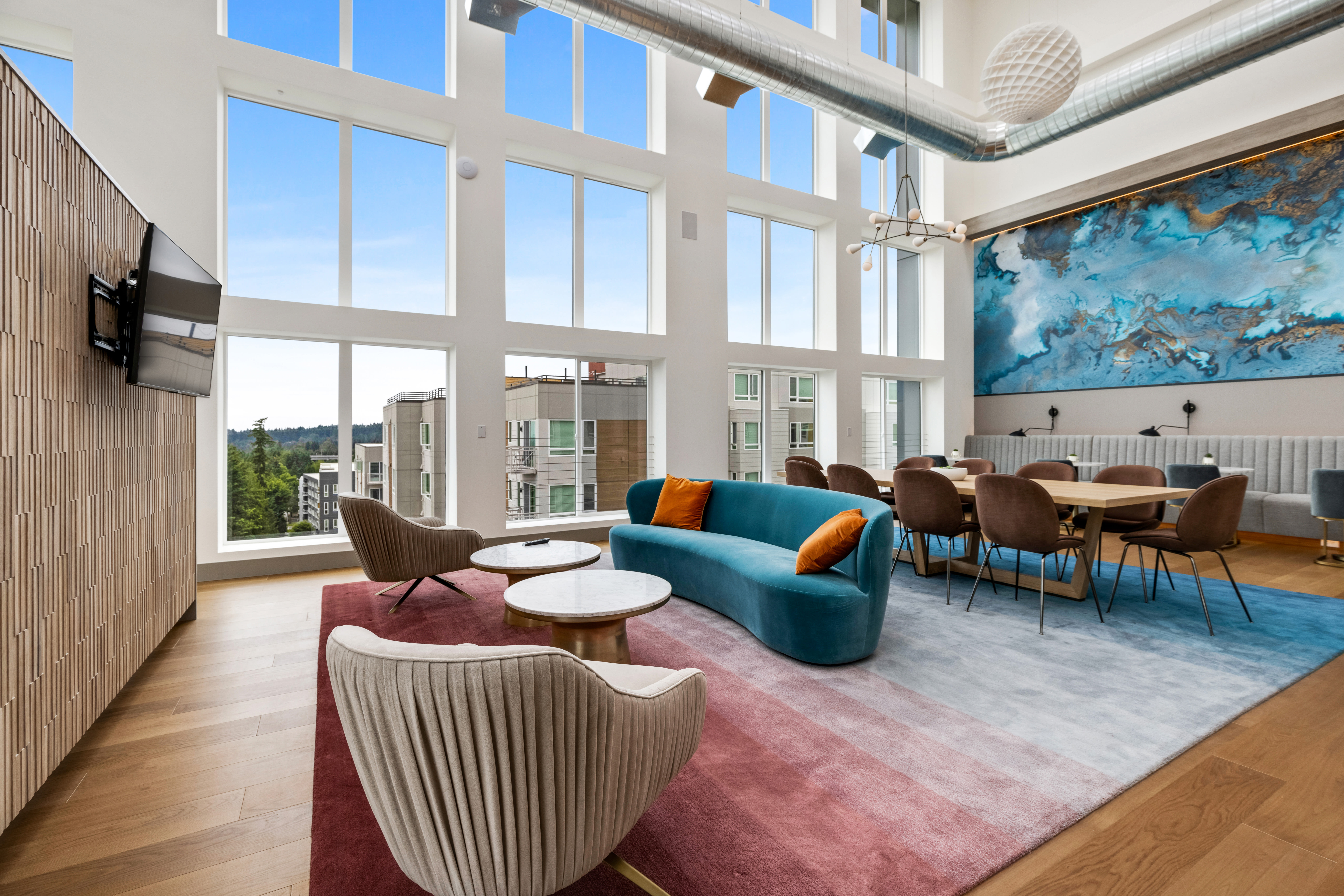 Spacious lounge for residents at Nightingale in Redmond, Washington