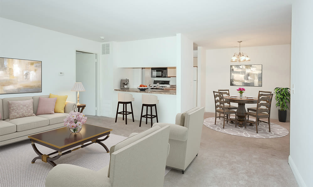 Spacious living room at Cranbury Crossing Apartment Homes in East Brunswick, New Jersey