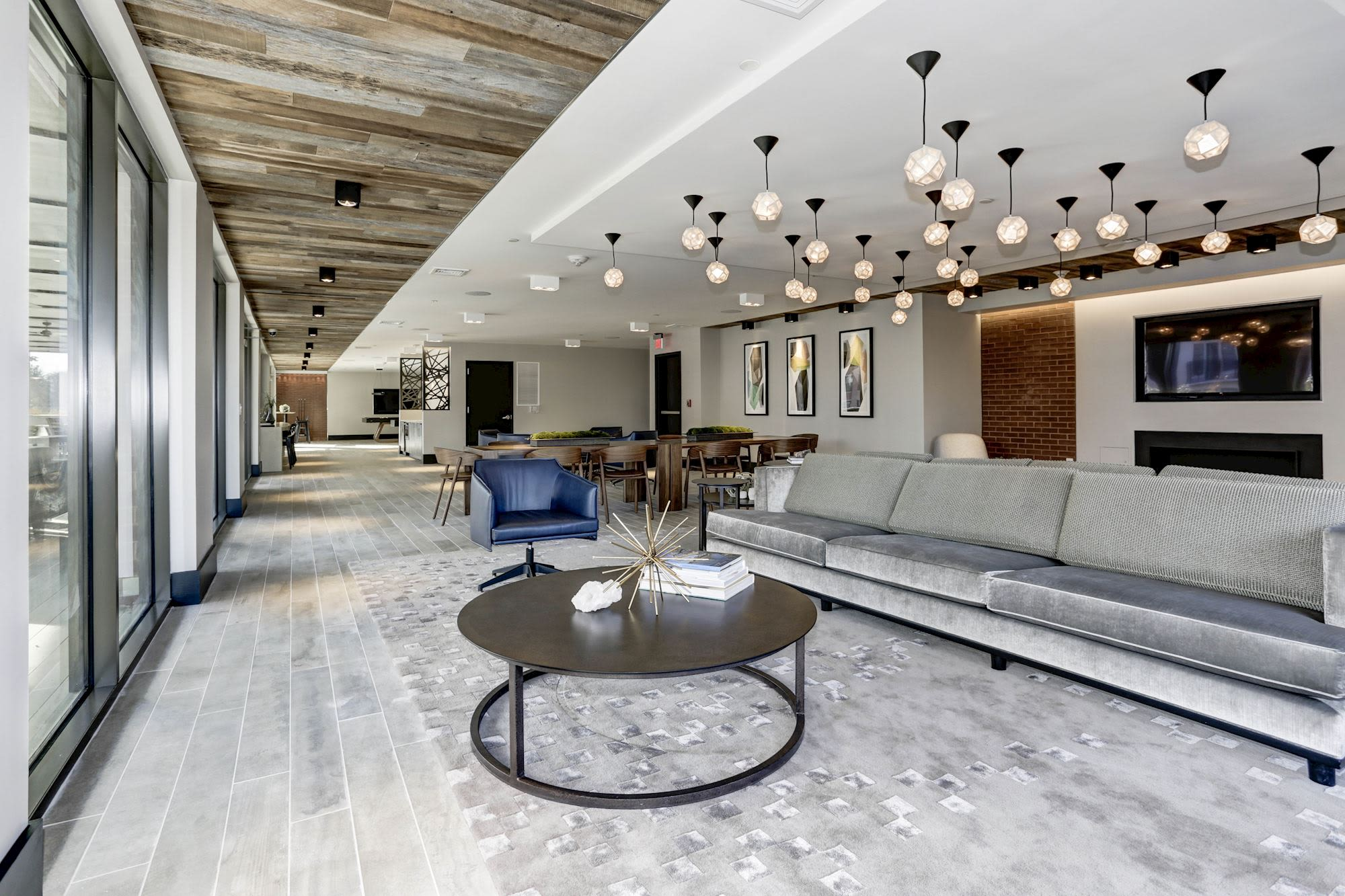 Amazing sleek clubhouse area where lots of residents can relax and hang out in at Metropolitan Rockville Town Center in Rockville, Maryland