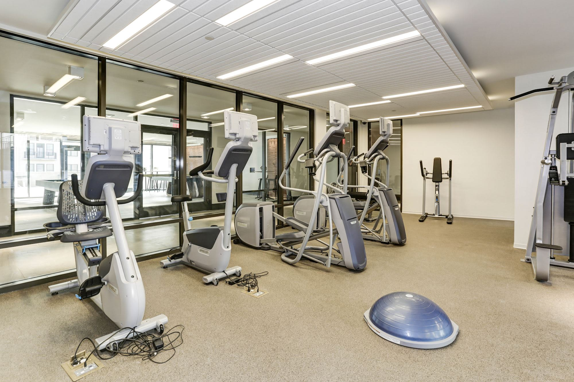 Fitness center at Metropolitan Rockville Town Center in Rockville, Maryland