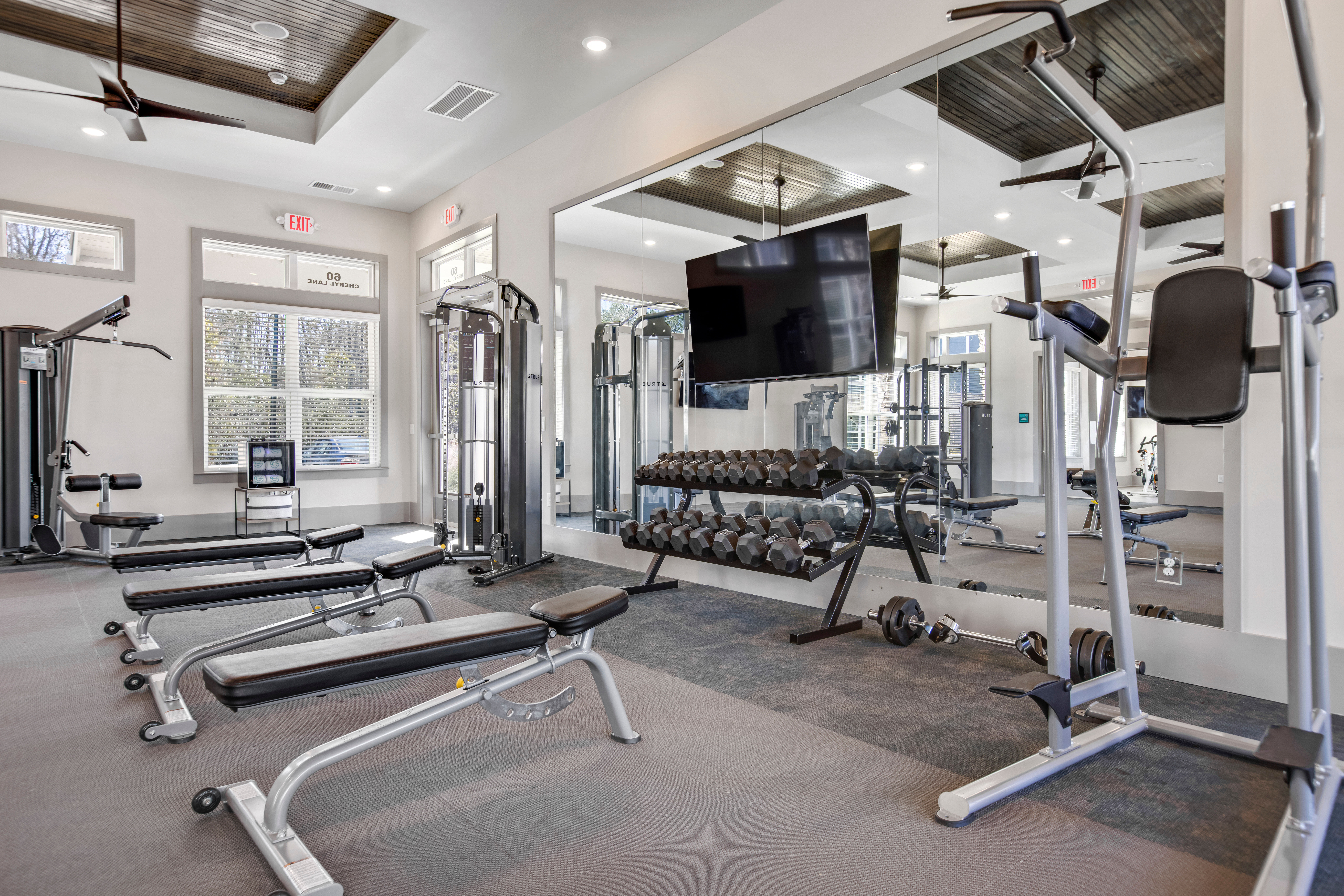 Gorgeous workout area in South City Apartments in Summerville, South Carolina