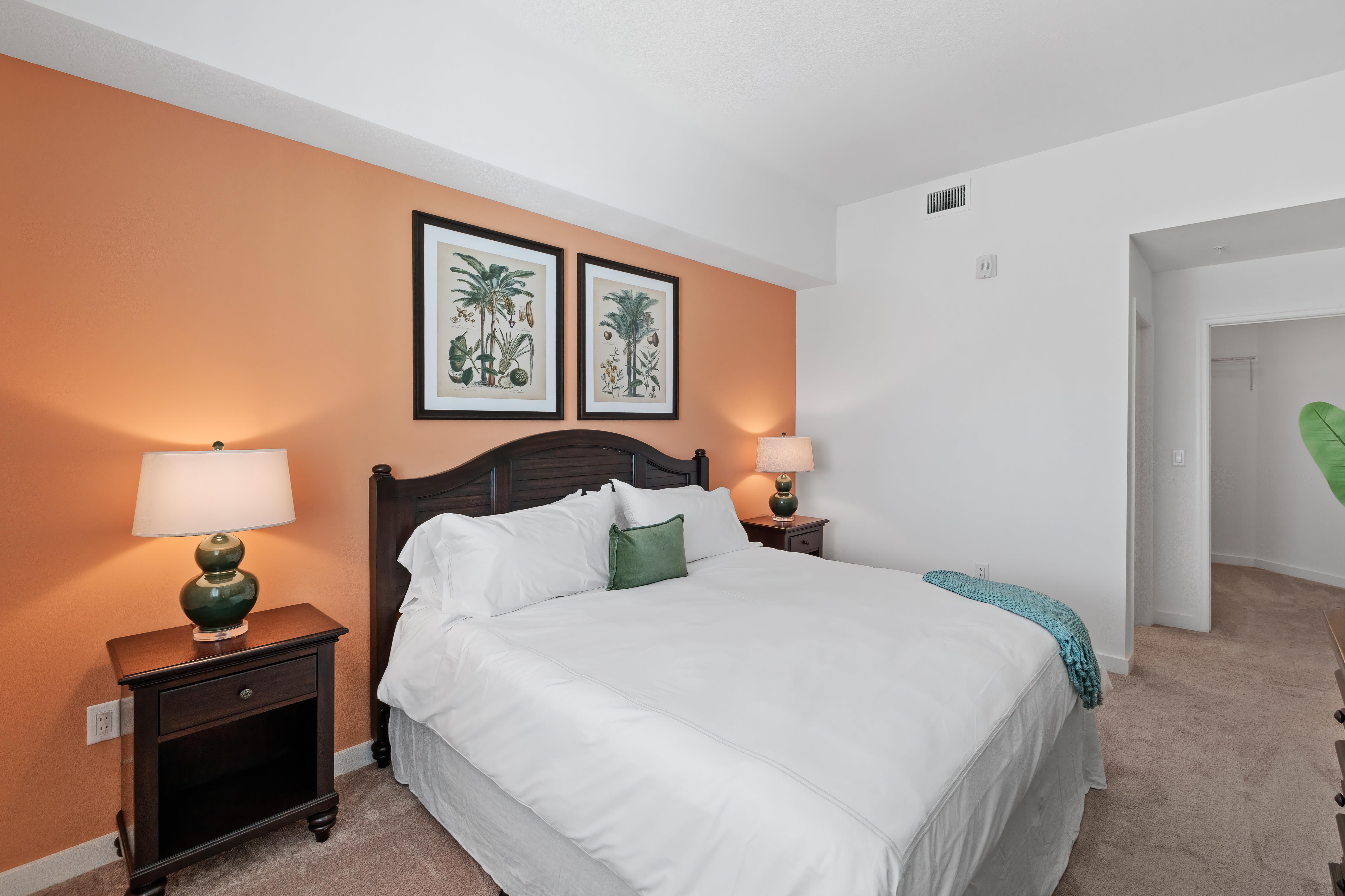 Model bedroom at Town Lantana in Lantana, Florida