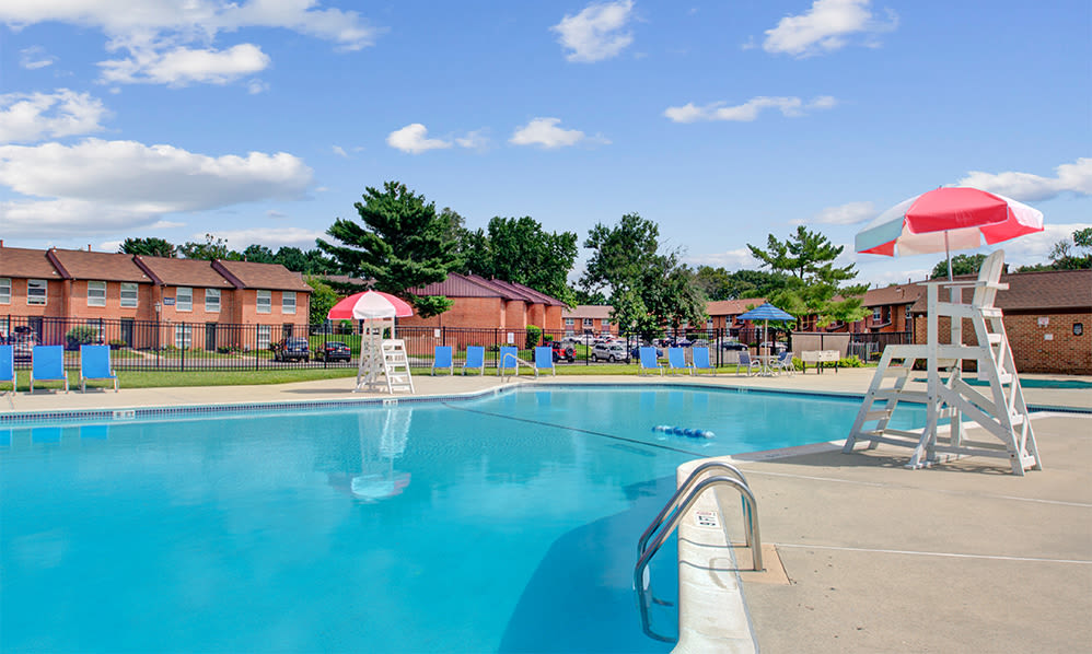 Swimming pool at Sherwood Village Apartment & Townhomes in Eastampton, New Jersey