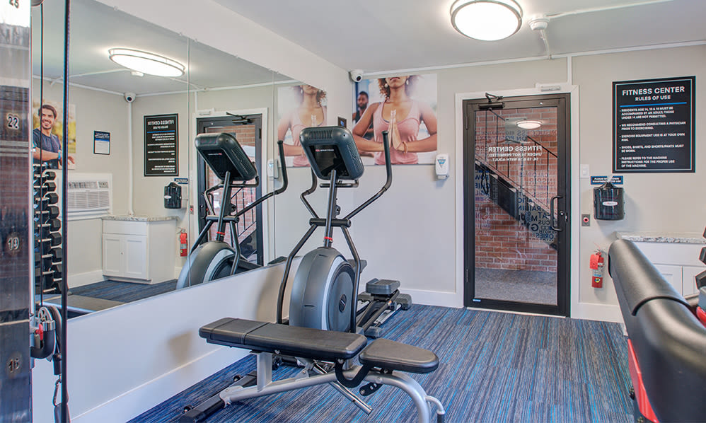 Fully-equipped fitness center at Sherwood Village Apartment & Townhomes in Eastampton, New Jersey
