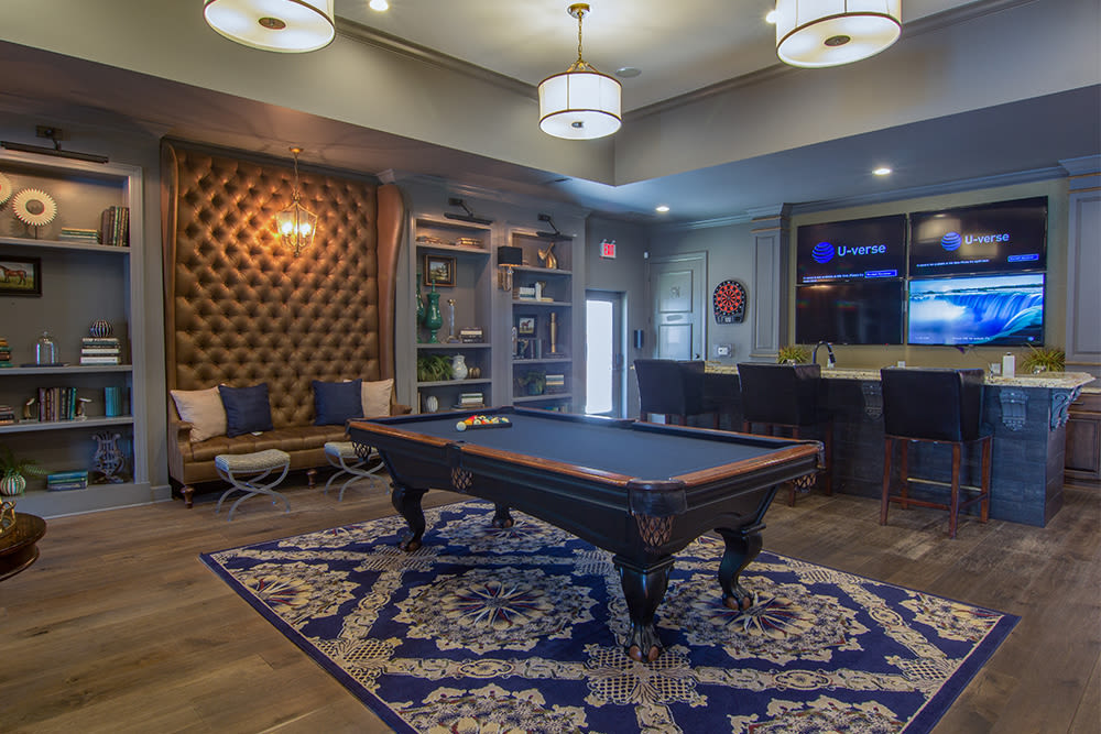 Billiards area in clubhouse at Palmer House Apartment Homes in New Albany, Ohio