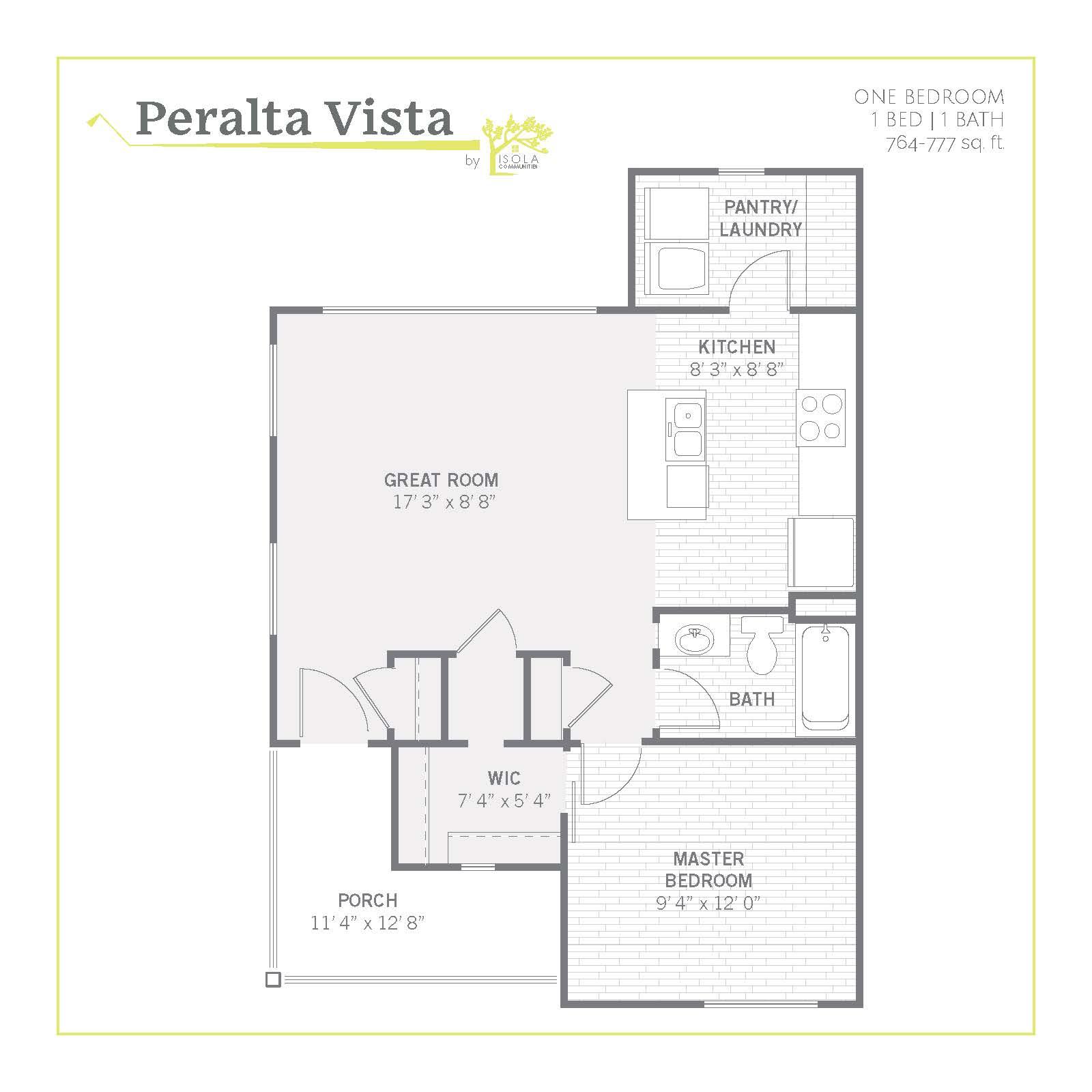 2D studio floor plan image at Peralta Vista in Mesa, Arizona
