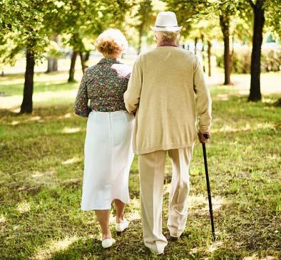 Seniors walking at Heritage Heights in Chelan, Washington