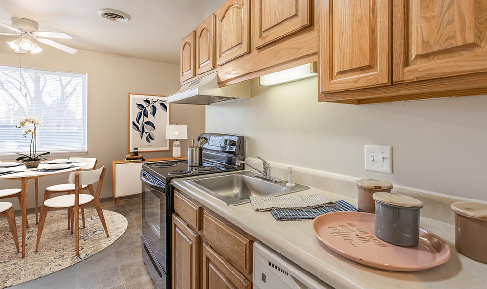 Cozy kitchen at Newcastle Apartments home in Rochester, New York