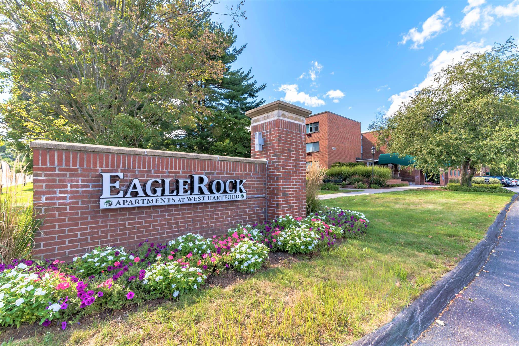 Brick sign for Eagle Rock Apartments at West Hartford in West Hartford, Connecticut