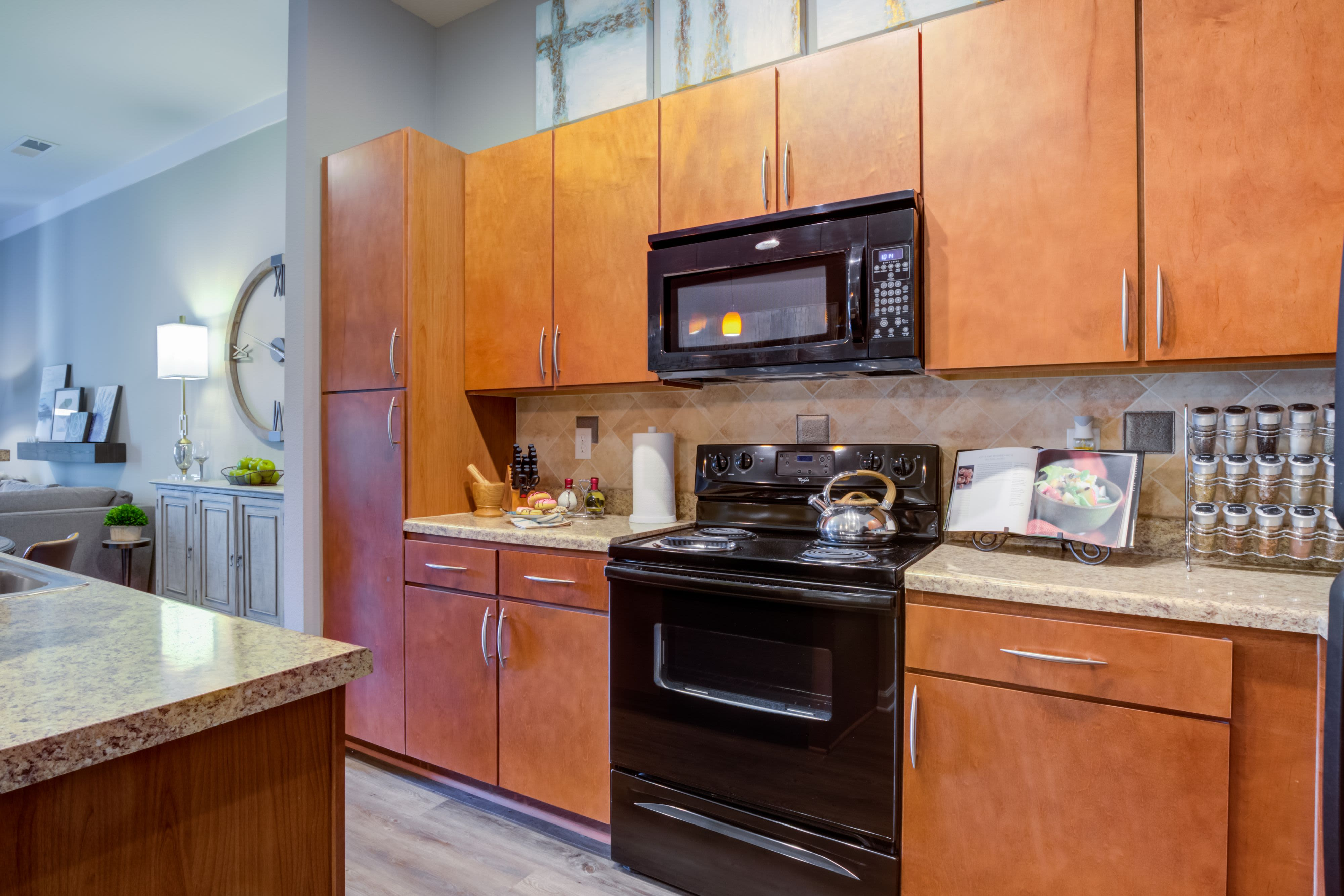 Model kitchen at Celsius Apartment Homes in Charlotte, North Carolina