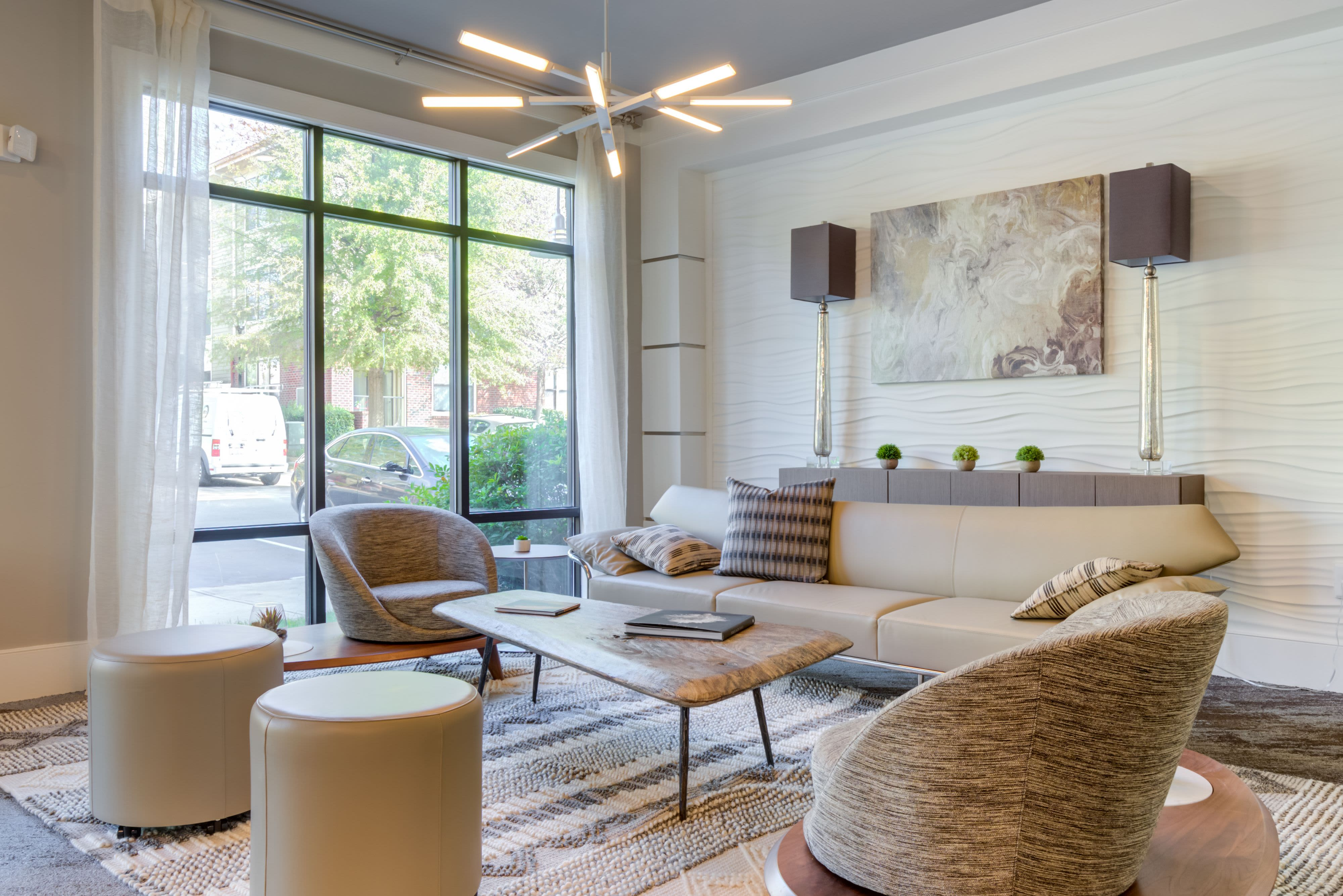 Office seating at Celsius Apartment Homes in Charlotte, North Carolina
